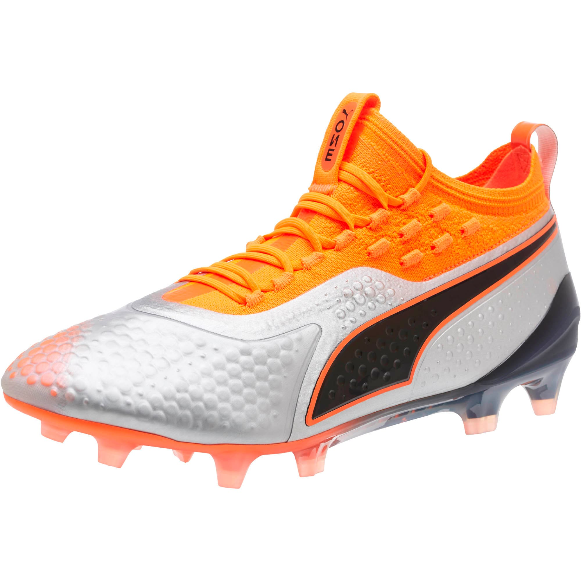 Thumbnail 1 of PUMA ONE 1 FG/AG Men's Soccer Cleats, Silver-Orange-Black, medium