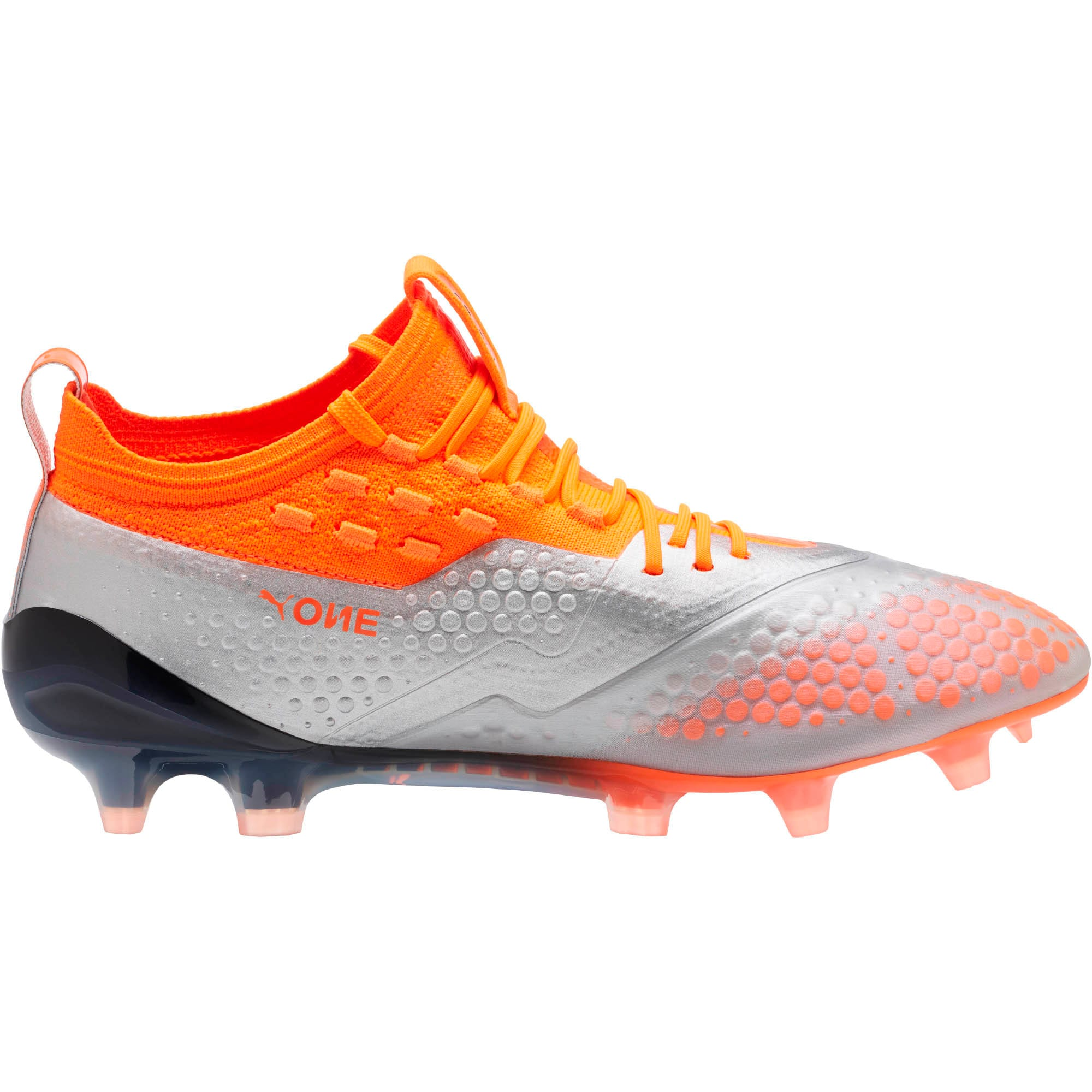 Thumbnail 3 of PUMA ONE 1 FG/AG Men's Soccer Cleats, Silver-Orange-Black, medium