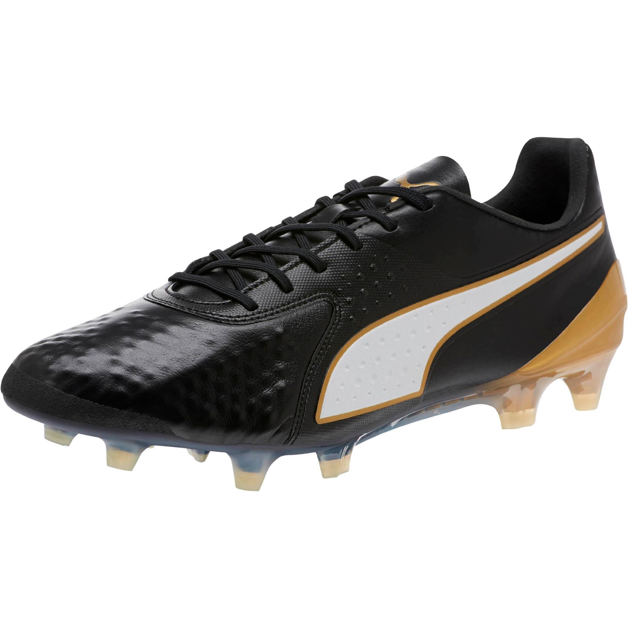 Thumbnail 1 of PUMA ONE 19.1 FG/AG Soccer Cleats, Black-White-Gold, medium