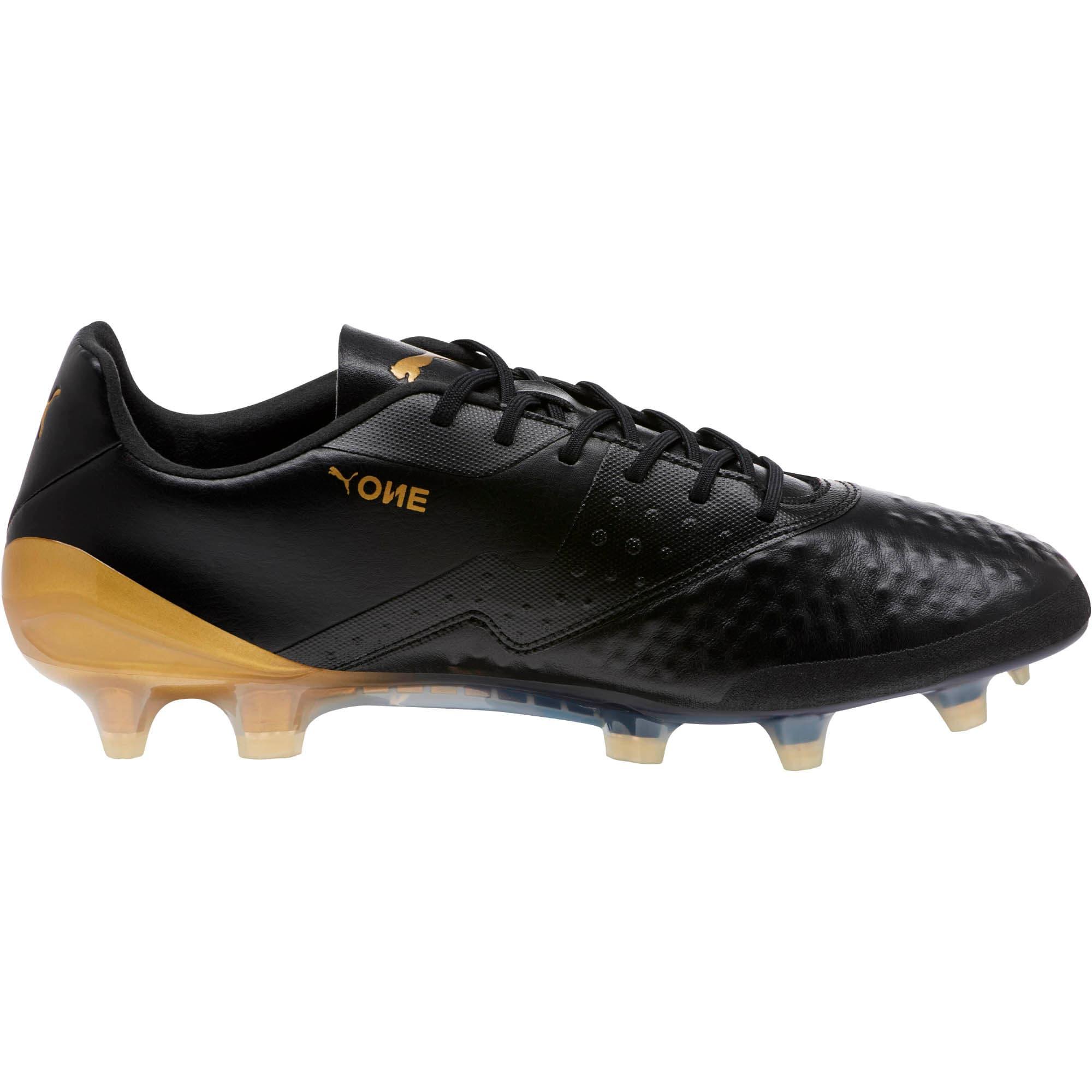 Thumbnail 3 of PUMA ONE 19.1 FG/AG Soccer Cleats, Black-White-Gold, medium