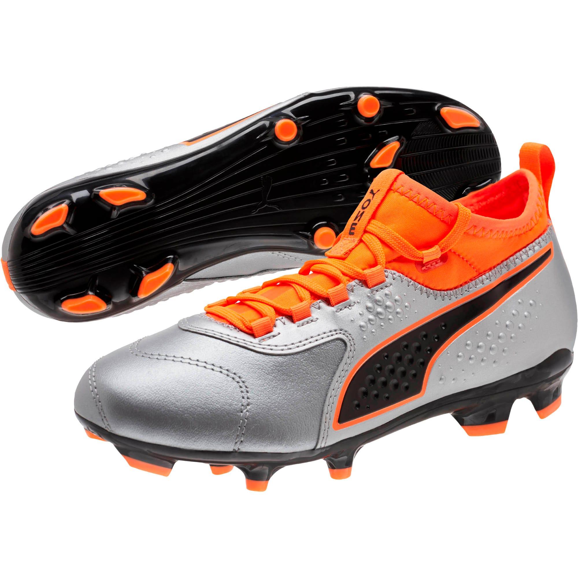 Thumbnail 2 of PUMA ONE 3 FG Soccer Cleats JR, Silver-Orange-Black, medium