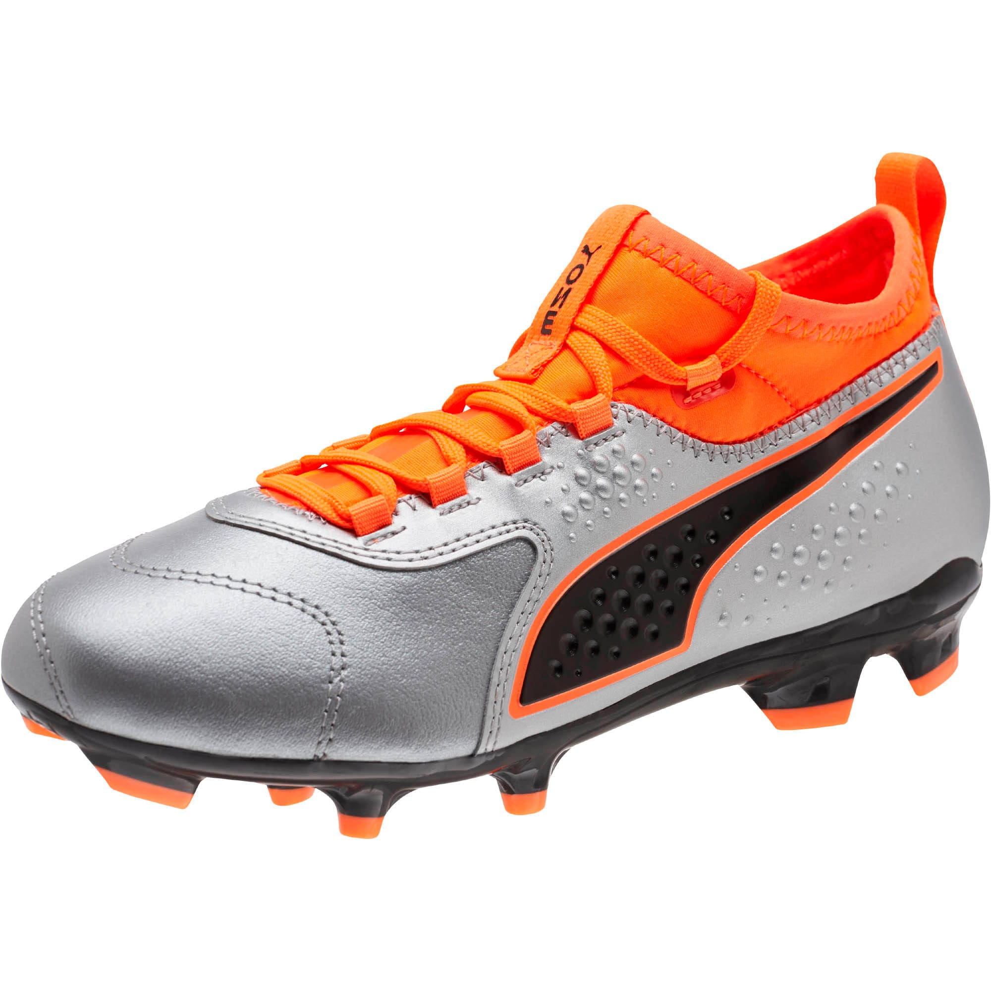 Thumbnail 1 of PUMA ONE 3 FG Soccer Cleats JR, Silver-Orange-Black, medium
