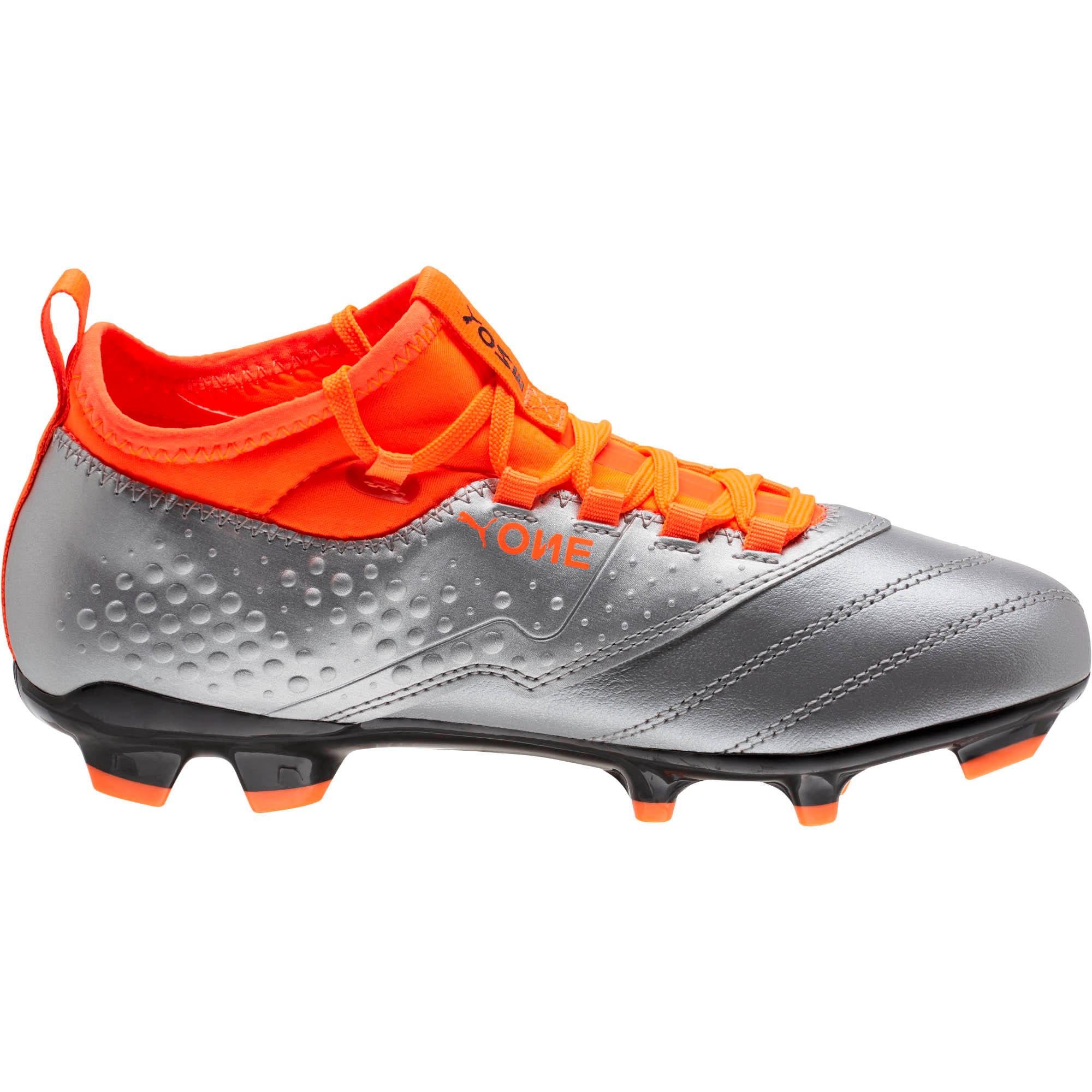 Thumbnail 3 of PUMA ONE 3 FG Soccer Cleats JR, Silver-Orange-Black, medium