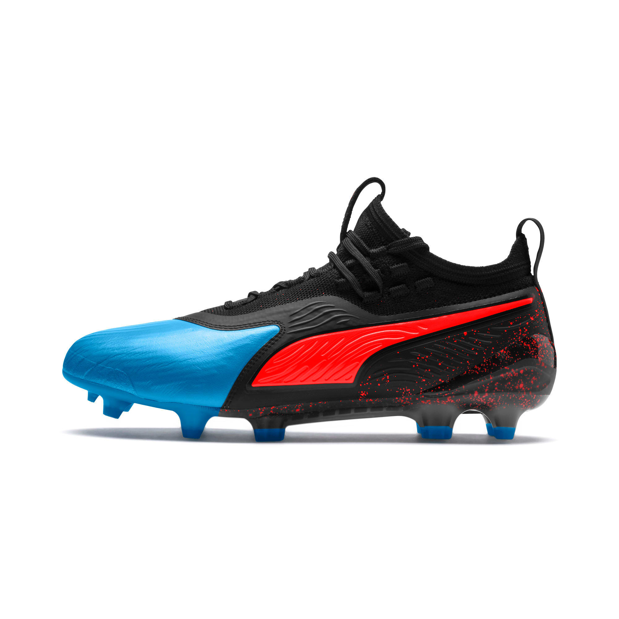 Thumbnail 1 of PUMA ONE 19.1 FG/AG Men's Soccer Cleats, Bleu Azur-Red Blast-Black, medium
