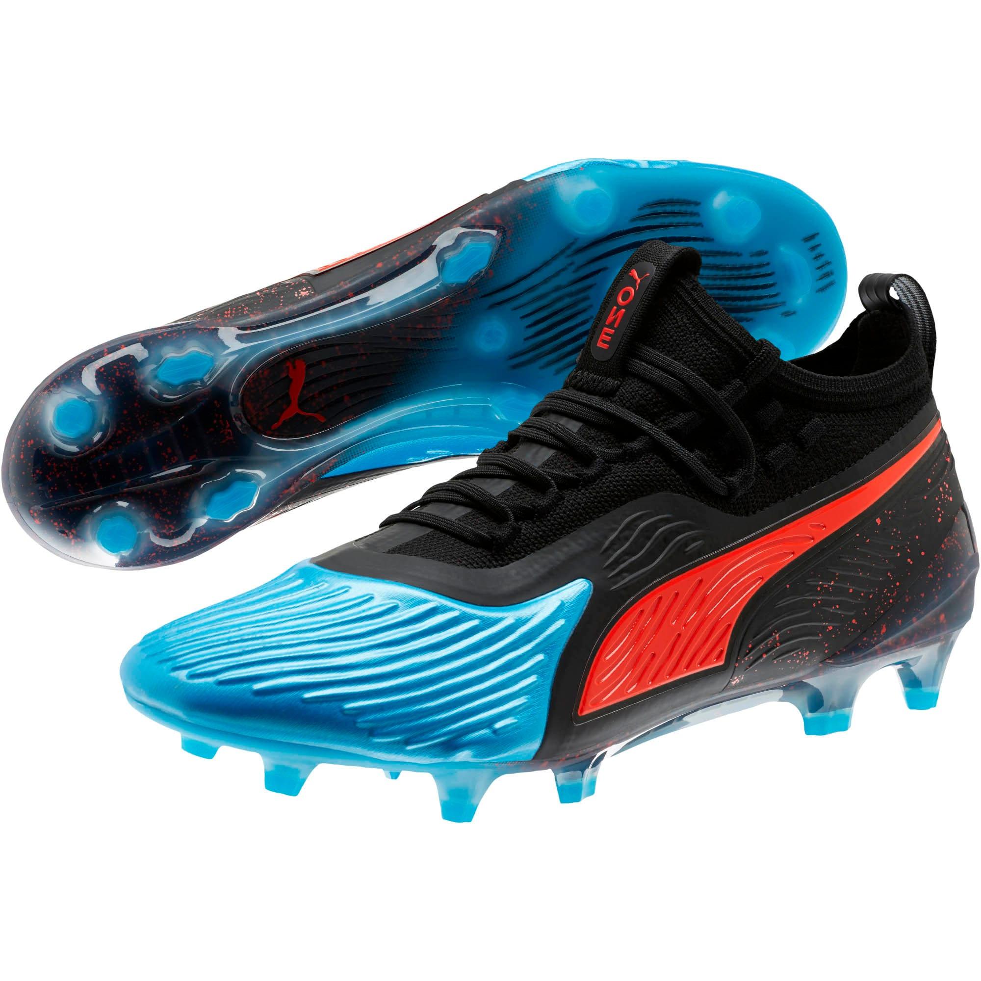 Thumbnail 2 of PUMA ONE 19.1 FG/AG Men's Soccer Cleats, Bleu Azur-Red Blast-Black, medium