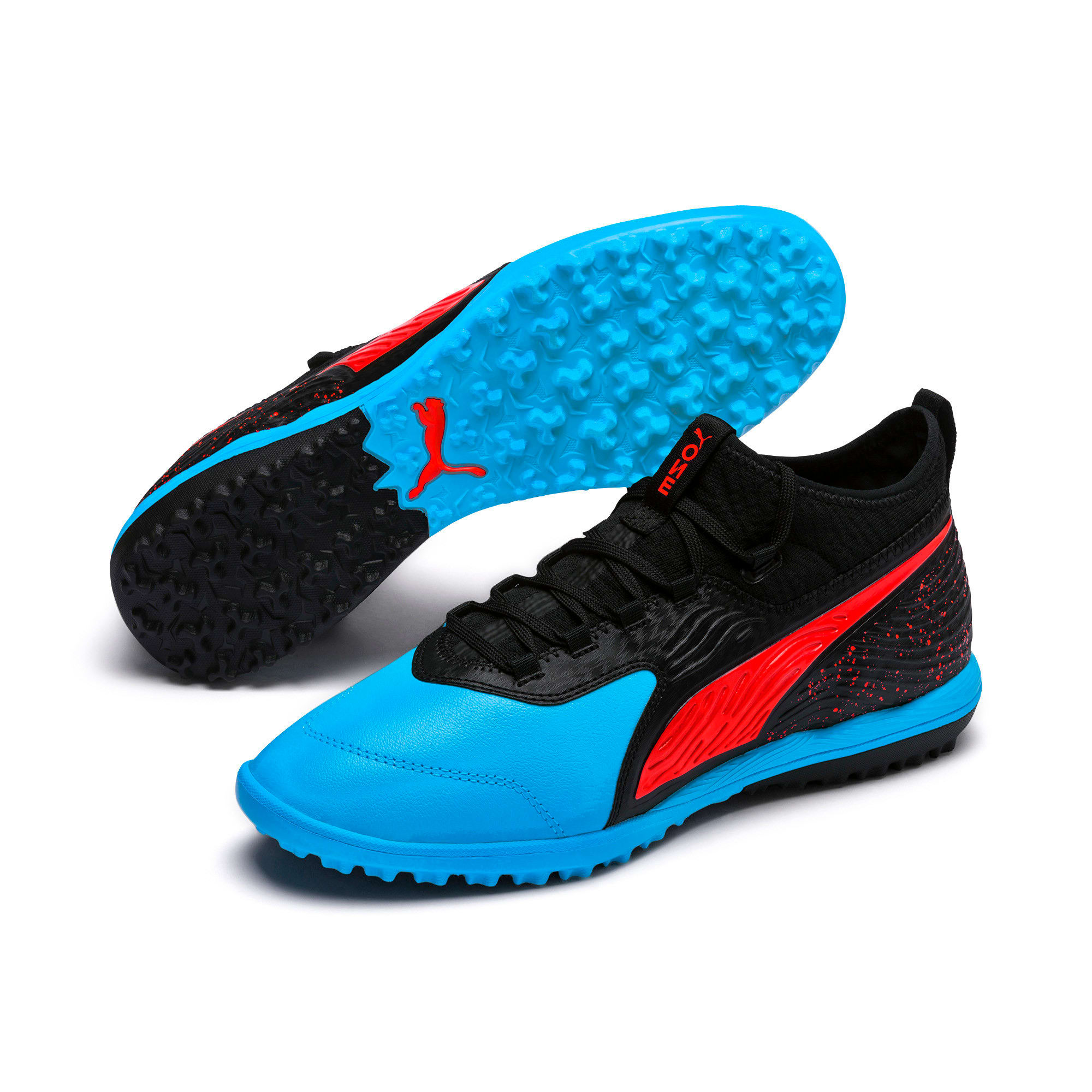 Thumbnail 3 of PUMA ONE 19.3 TT Men's Soccer Shoes, Bleu Azur-Red Blast-Black, medium