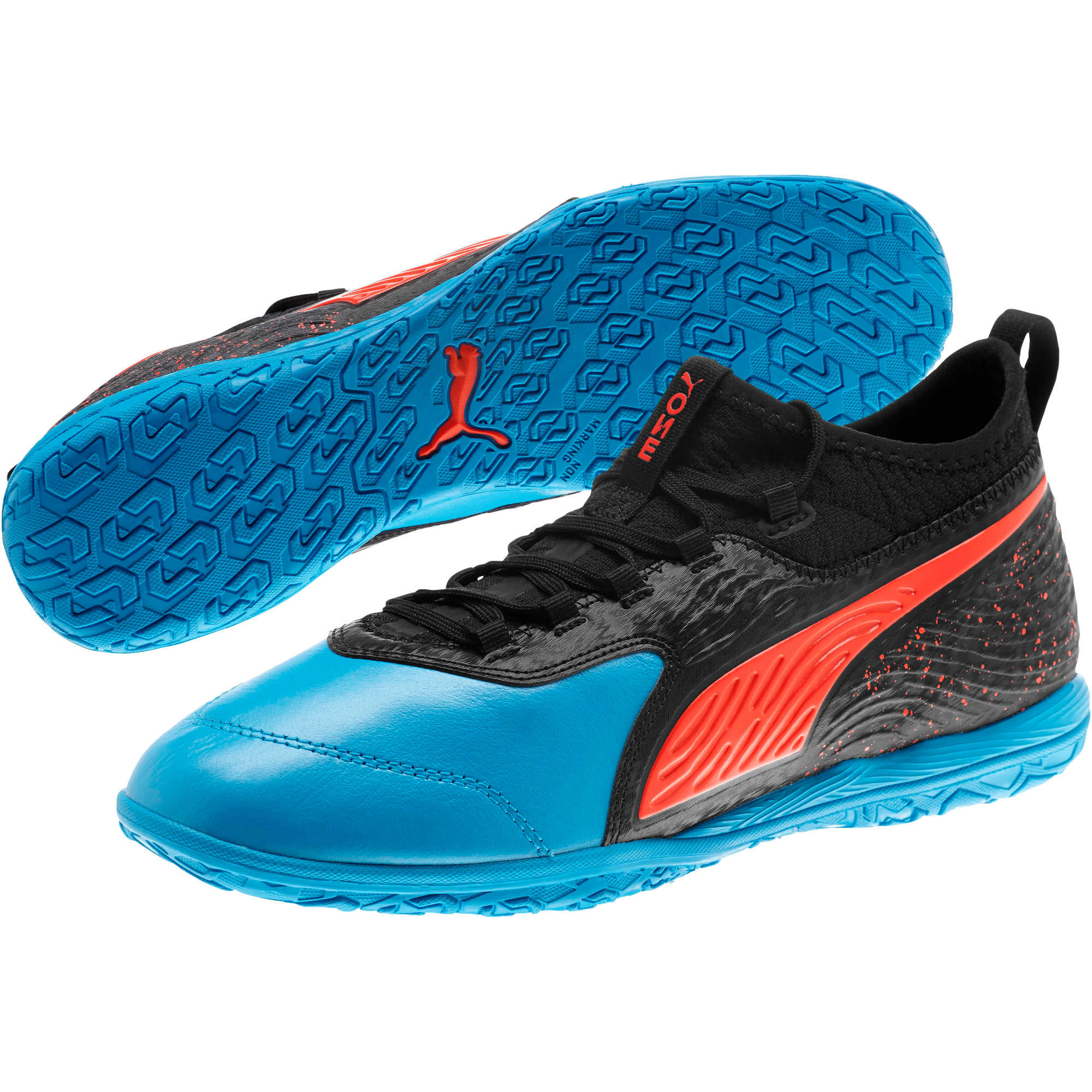 Thumbnail 2 of PUMA ONE 19.3 IT Men's Soccer Shoes, Bleu Azur-Red Blast-Black, medium