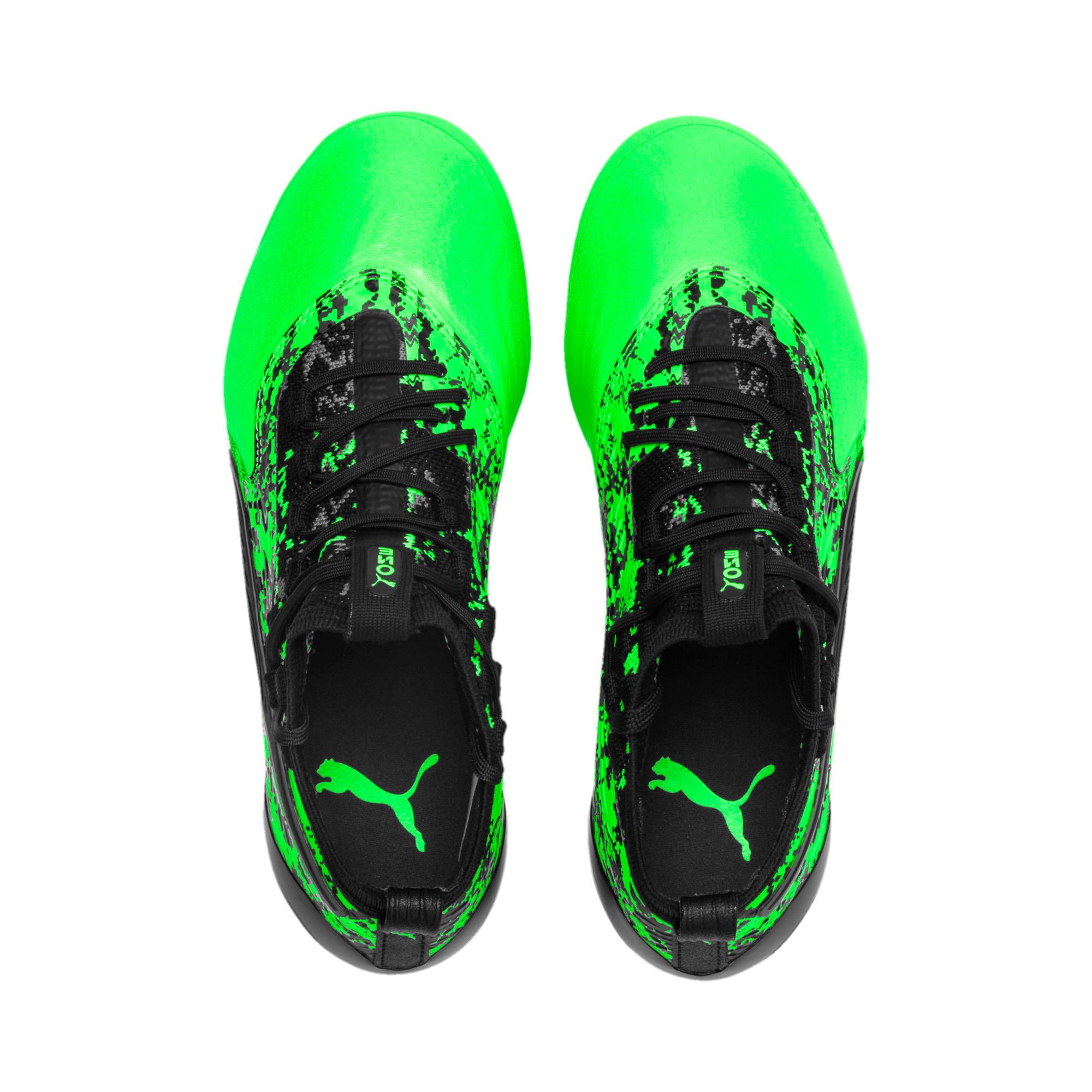 Thumbnail 6 of PUMA ONE 19.1 FG/AG Soccer Cleats JR, Green Gecko-Black-Gray, medium