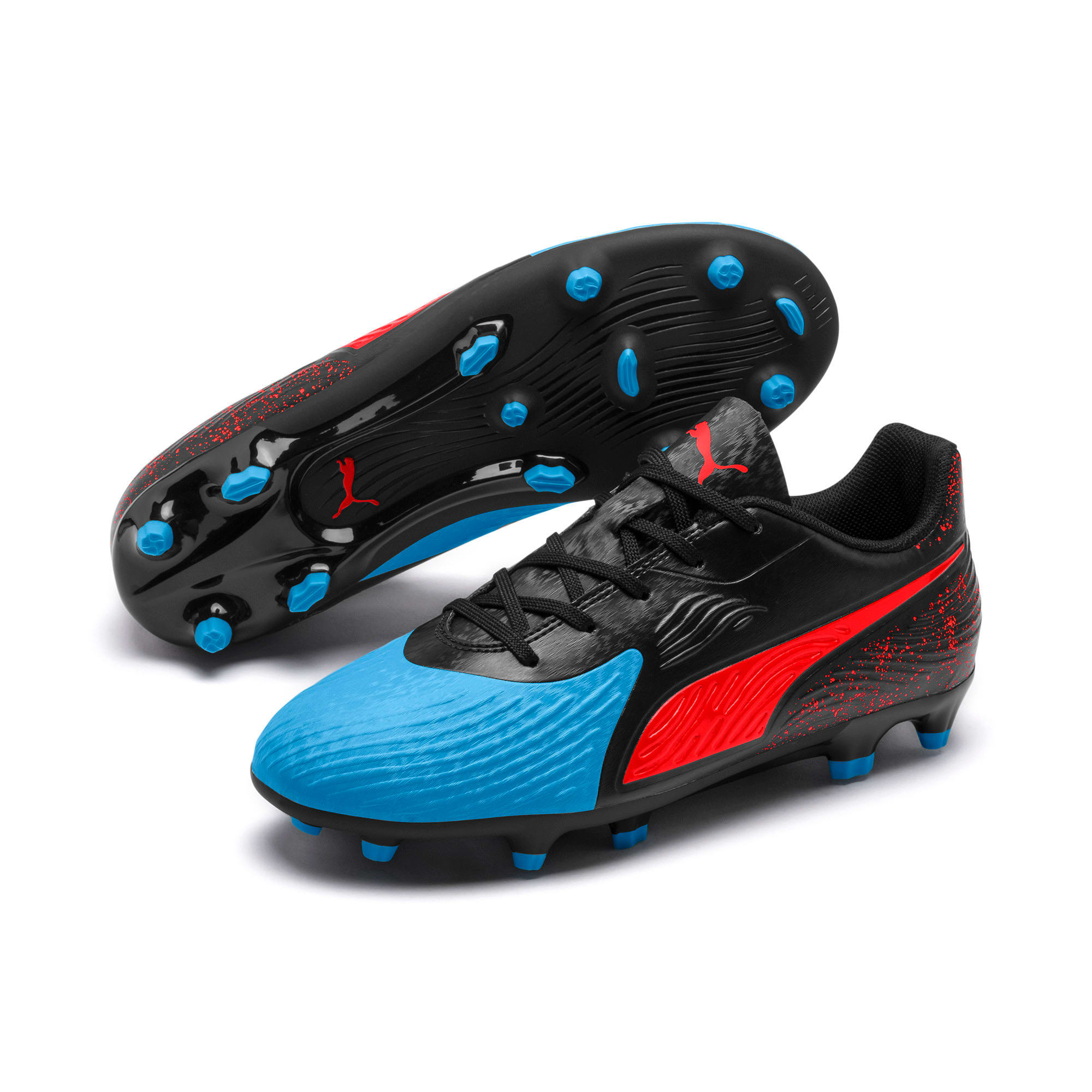 Thumbnail 2 of PUMA ONE 19.4 FG/AG Soccer Cleats JR, Bleu Azur-Red Blast-Black, medium