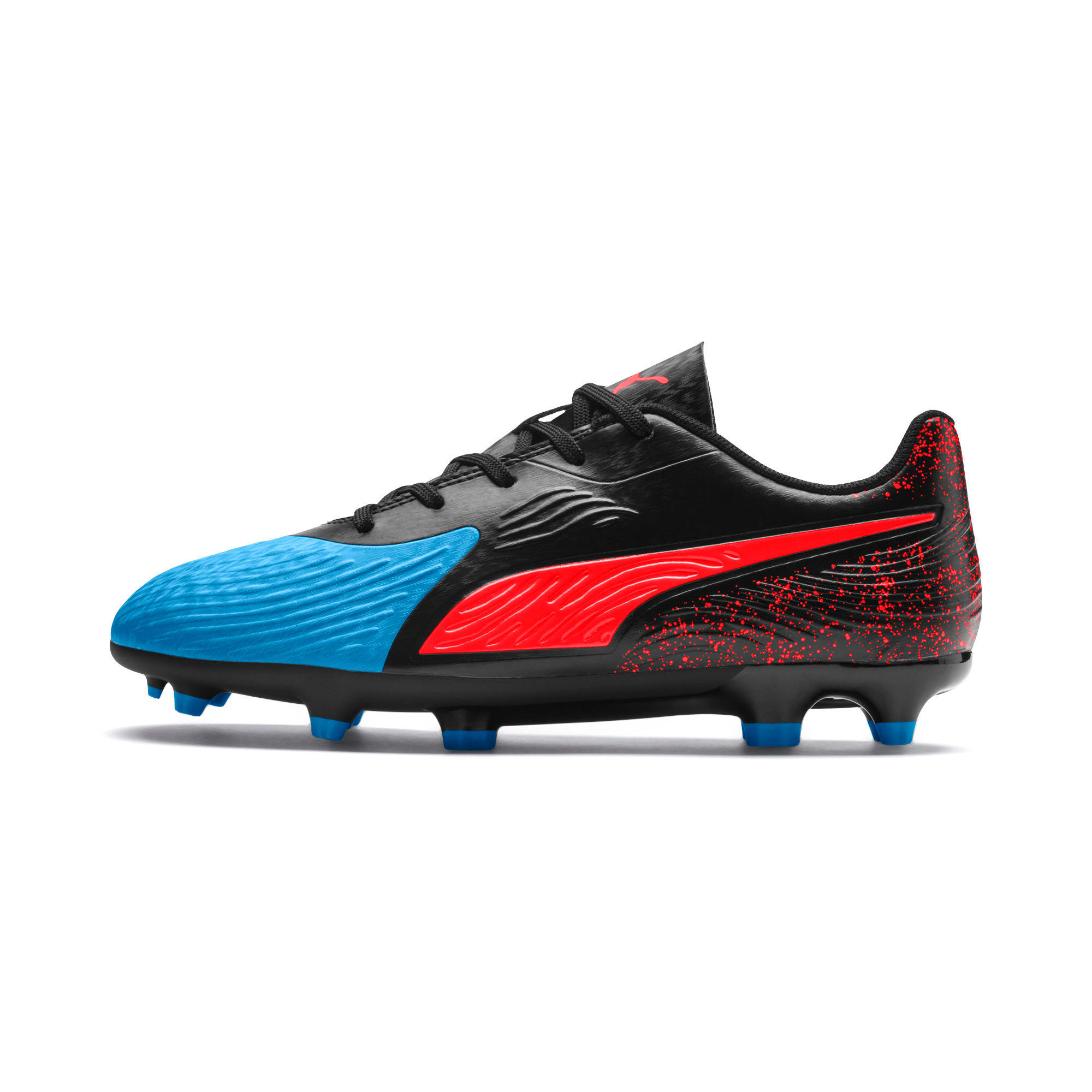 Thumbnail 1 of PUMA ONE 19.4 FG/AG Soccer Cleats JR, Bleu Azur-Red Blast-Black, medium