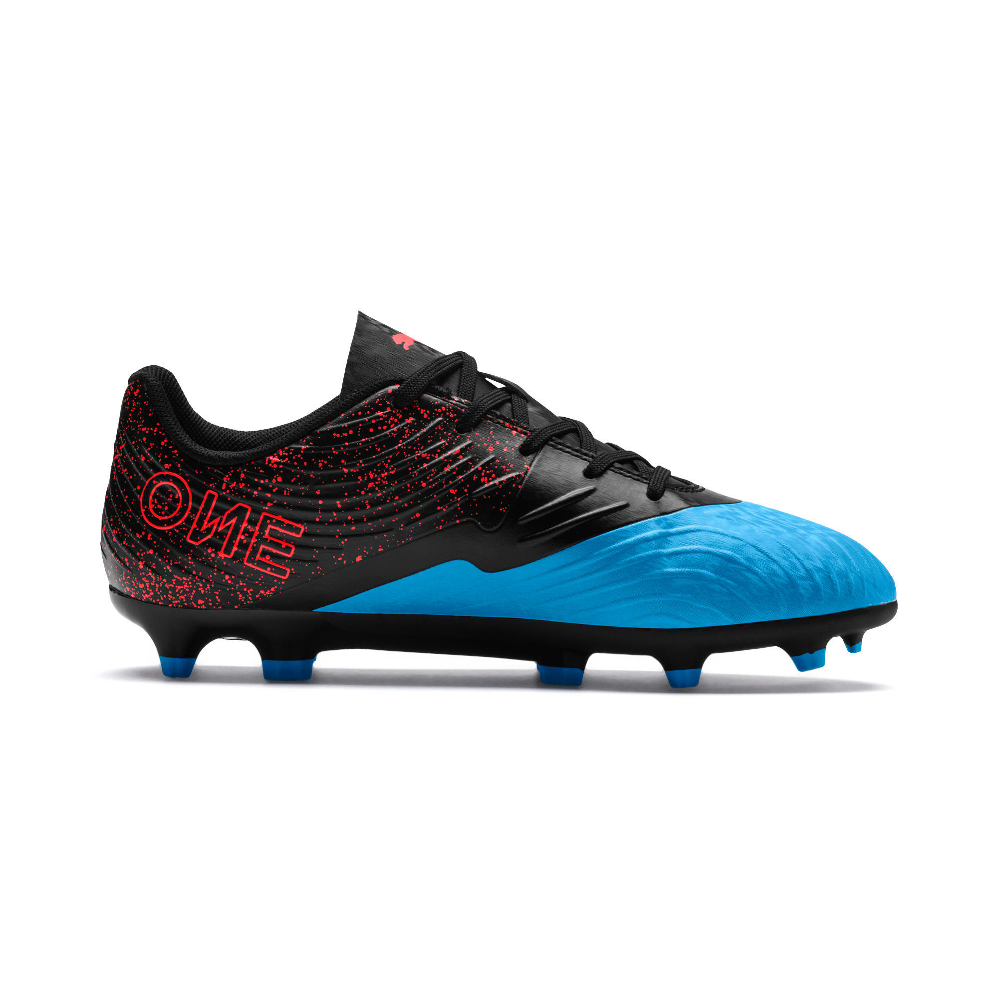 Thumbnail 5 of PUMA ONE 19.4 FG/AG Soccer Cleats JR, Bleu Azur-Red Blast-Black, medium