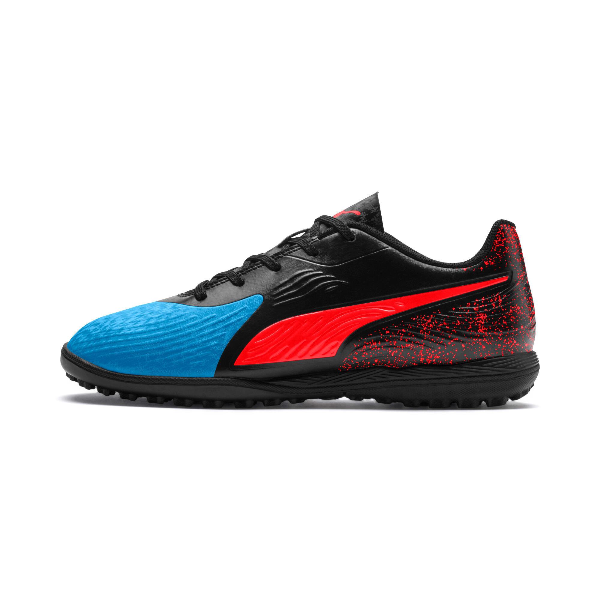 Thumbnail 1 of PUMA ONE 19.4 TT Soccer Shoes JR, Bleu Azur-Red Blast-Black, medium