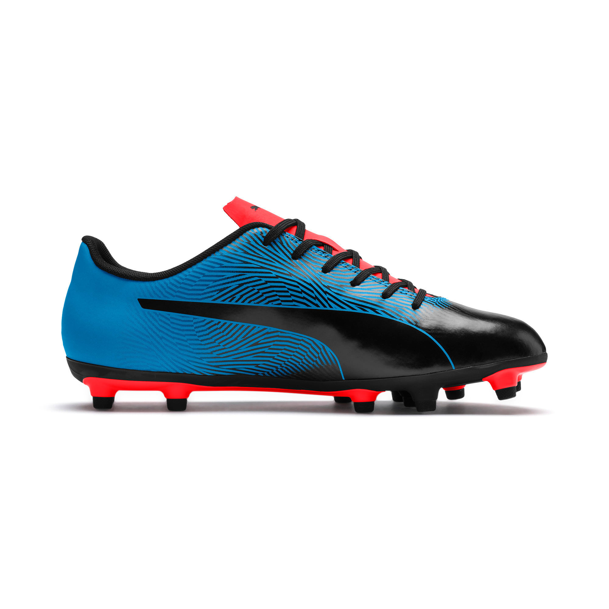 Miniatura 5 de Botines de fútbol PUMA Spirit II FG para hombre, Black-Bleu Azur-Red Blast, mediano
