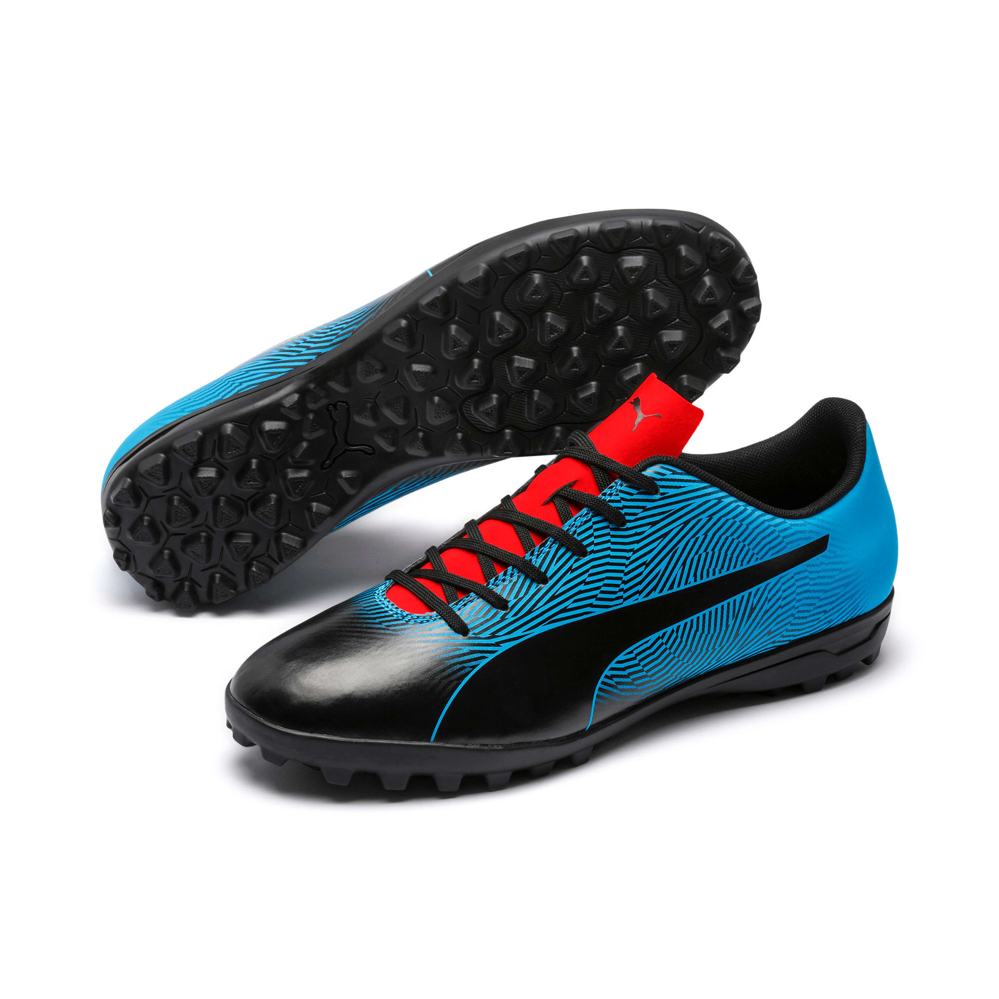 Thumbnail 2 of PUMA Spirit II TT Men's Soccer Shoes, Black-Bleu Azur-Red Blast, medium