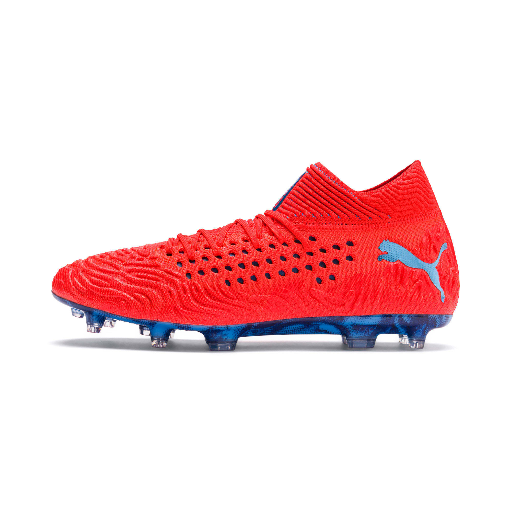 Thumbnail 1 of FUTURE 19.1 NETFIT FG/AG Men's Soccer Cleats, Red Blast-Bleu Azur, medium
