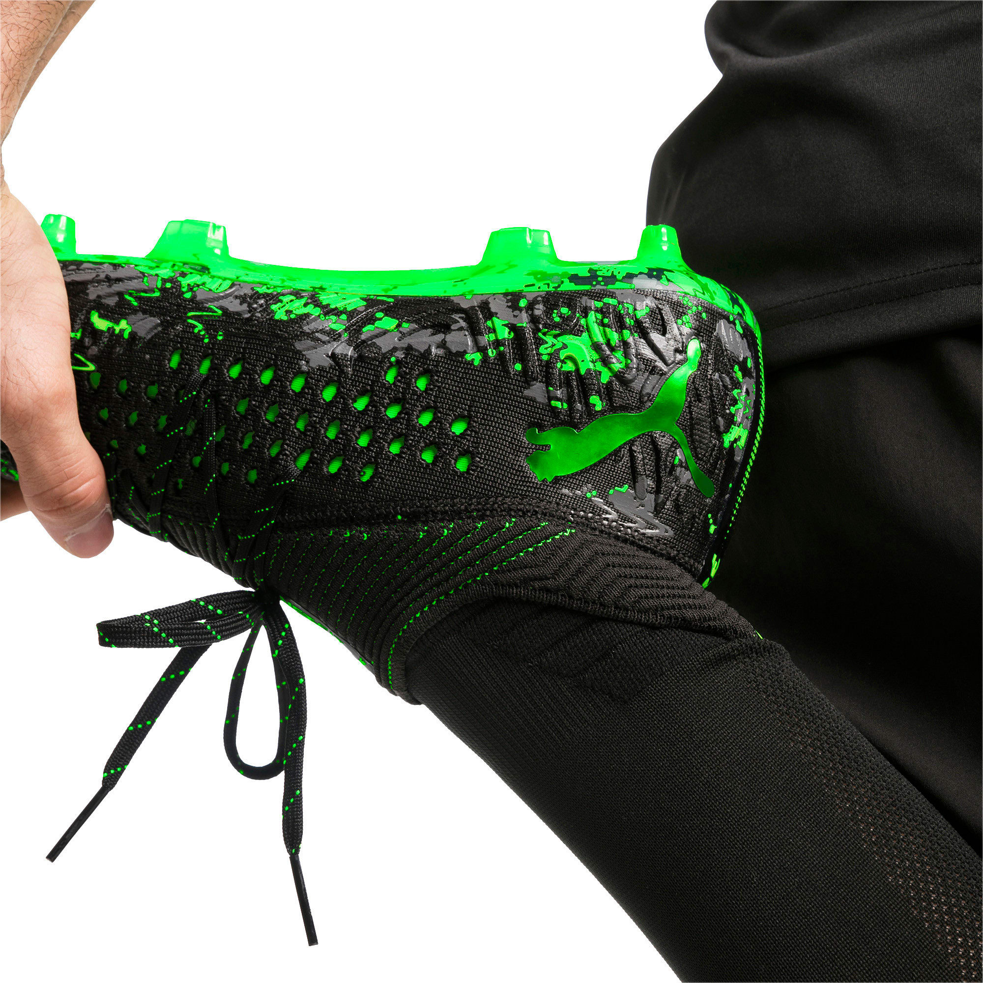 Thumbnail 3 van FUTURE 19.1 NETFIT FG/AG voetbalschoenen voor mannen, Zwart-grijs-Green Gecko, medium
