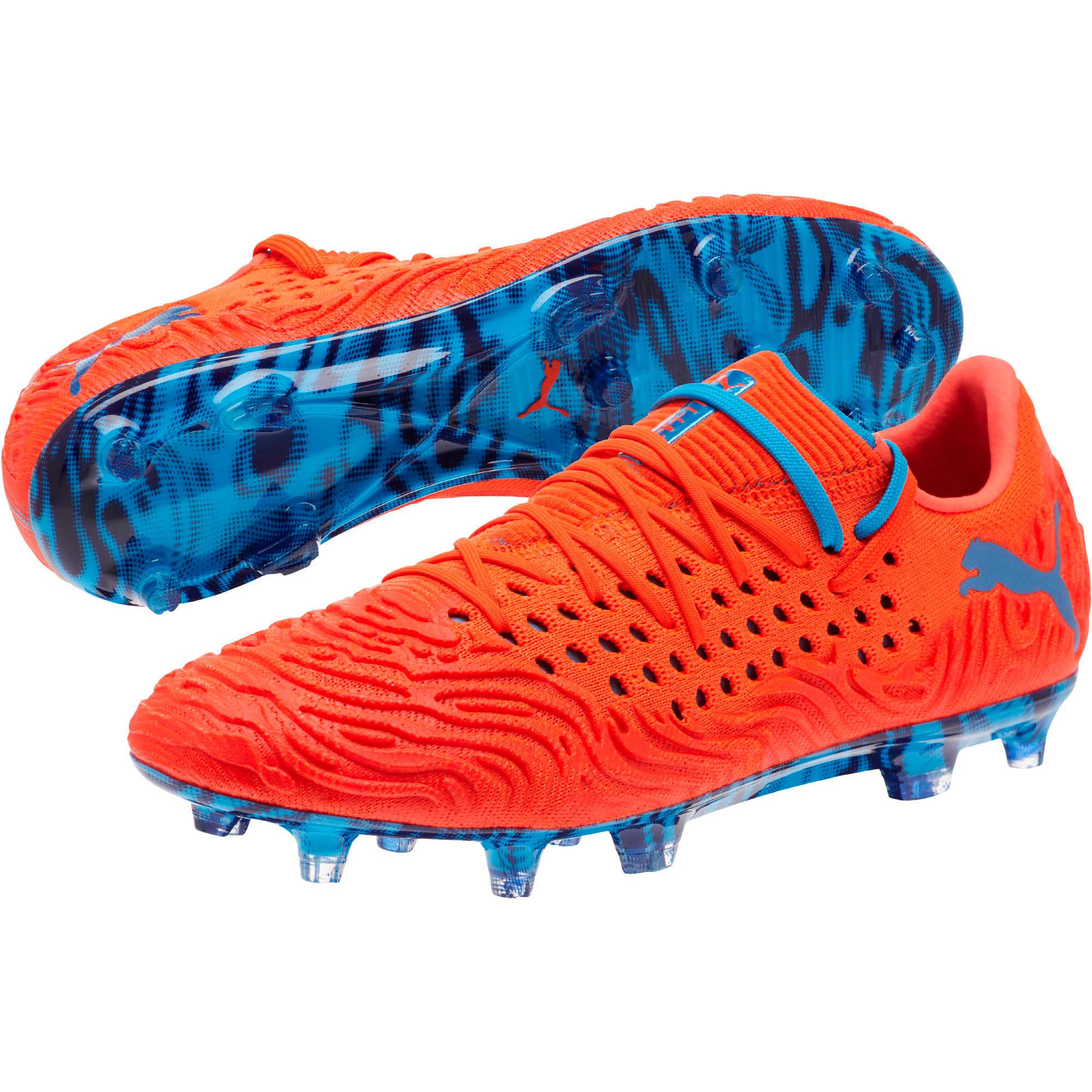 Thumbnail 2 of FUTURE 19.1 NETFIT Lo FG/AG Men's Soccer Cleats, Red Blast-Bleu Azur, medium