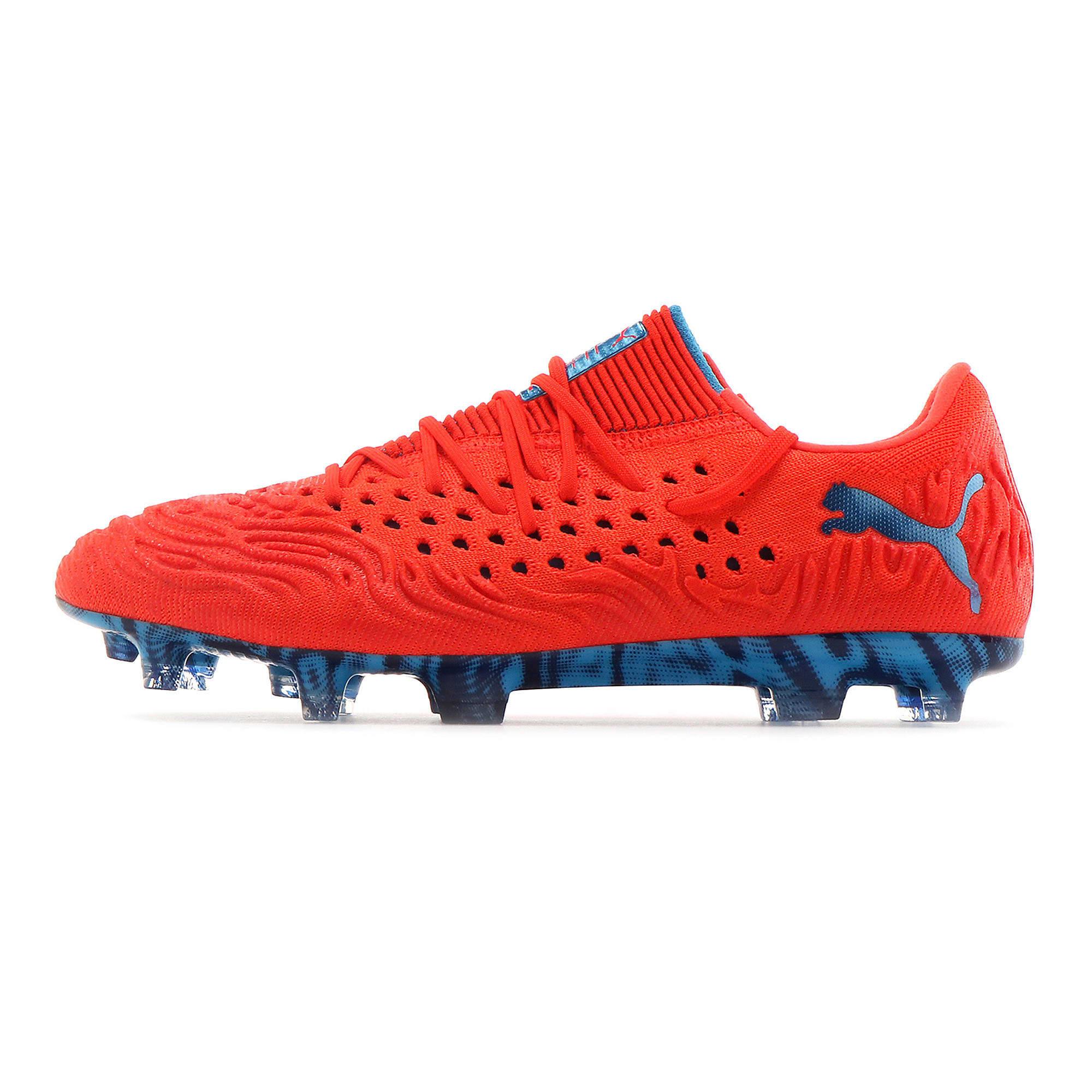 Thumbnail 1 of FUTURE 19.1 NETFIT Lo FG/AG Men's Soccer Cleats, Red Blast-Bleu Azur, medium