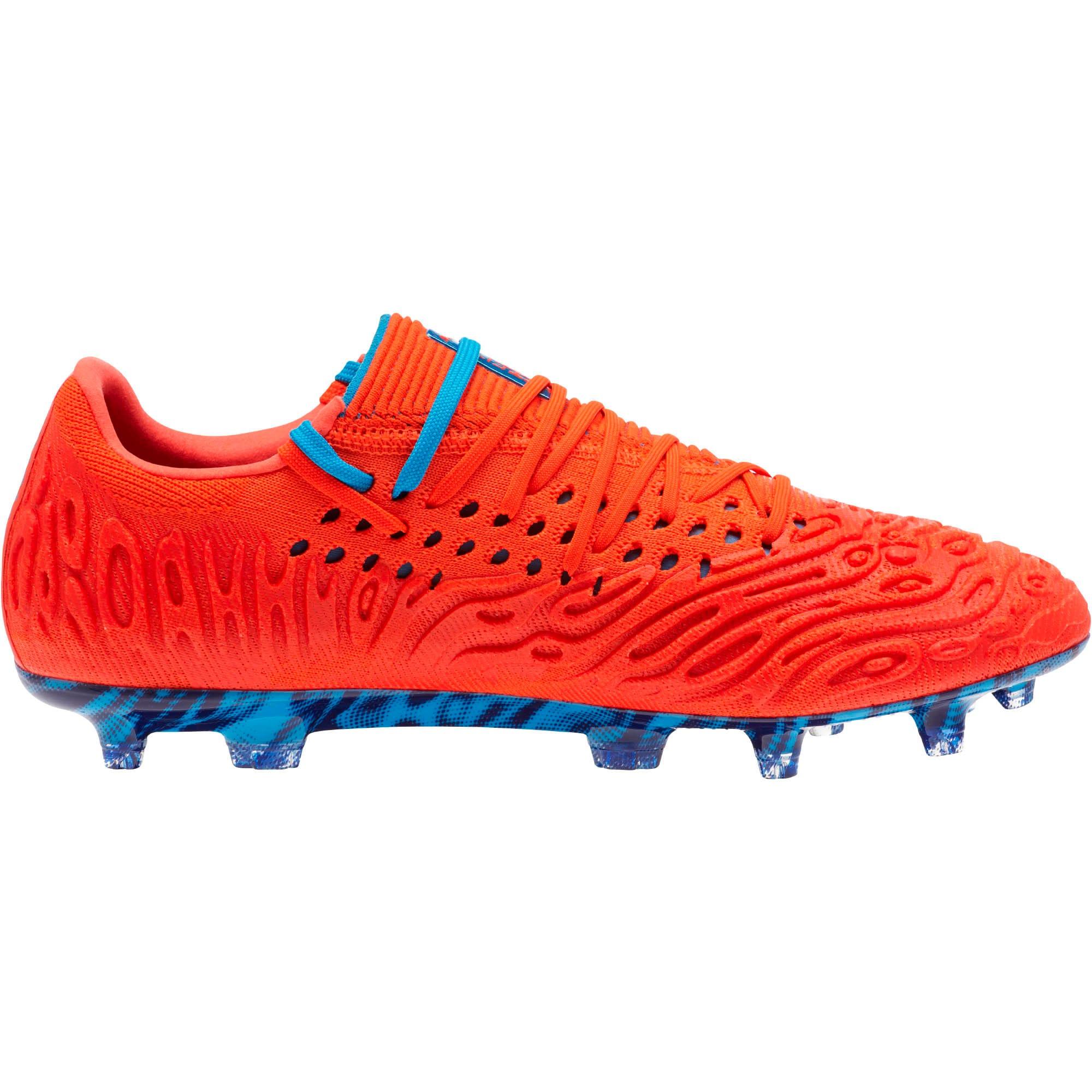 Thumbnail 3 of FUTURE 19.1 NETFIT Lo FG/AG Men's Soccer Cleats, Red Blast-Bleu Azur, medium