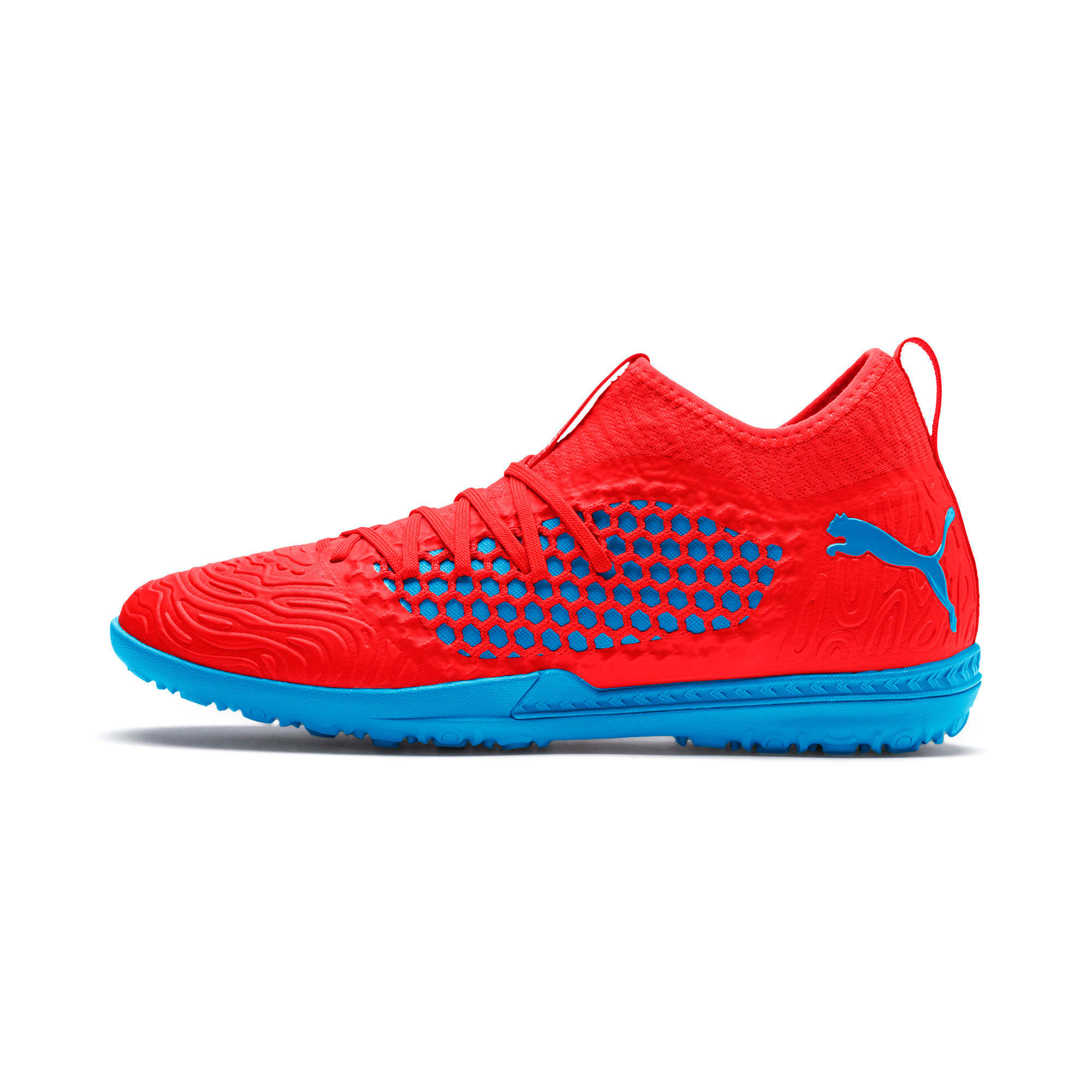 Thumbnail 1 of FUTURE 19.3 NETFIT TT Men's Soccer Shoes, Red Blast-Bleu Azur, medium