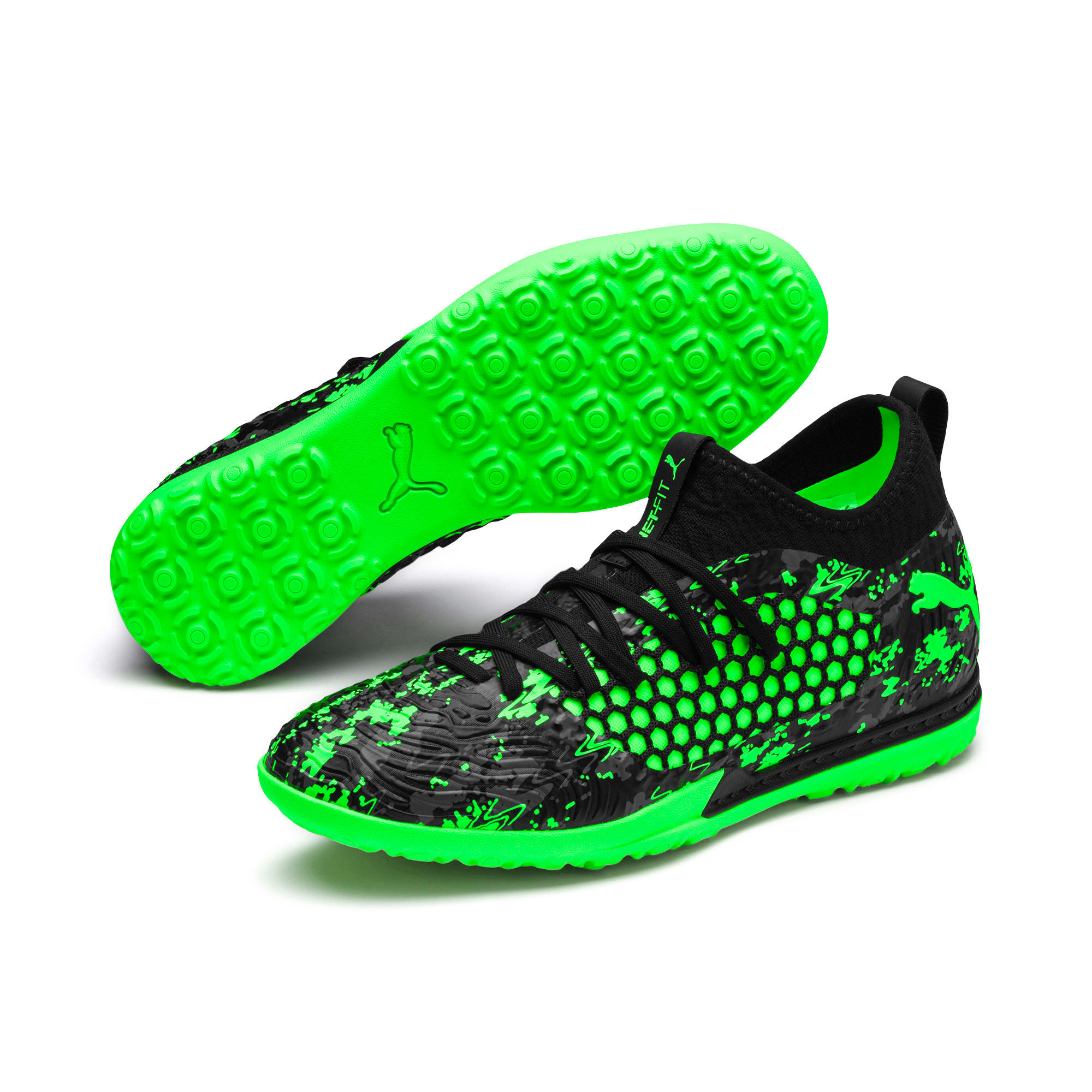 Anteprima 2 di FUTURE 19.3 NETFIT TT Men's Football Boots, Black-Gray-Green Gecko, medio