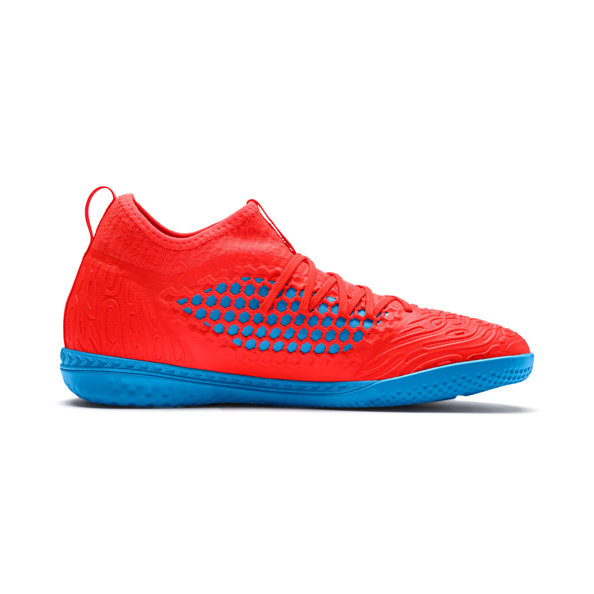 Thumbnail 5 of FUTURE 19.3 NETFIT IT Men's Soccer Shoes, Red Blast-Bleu Azur, medium