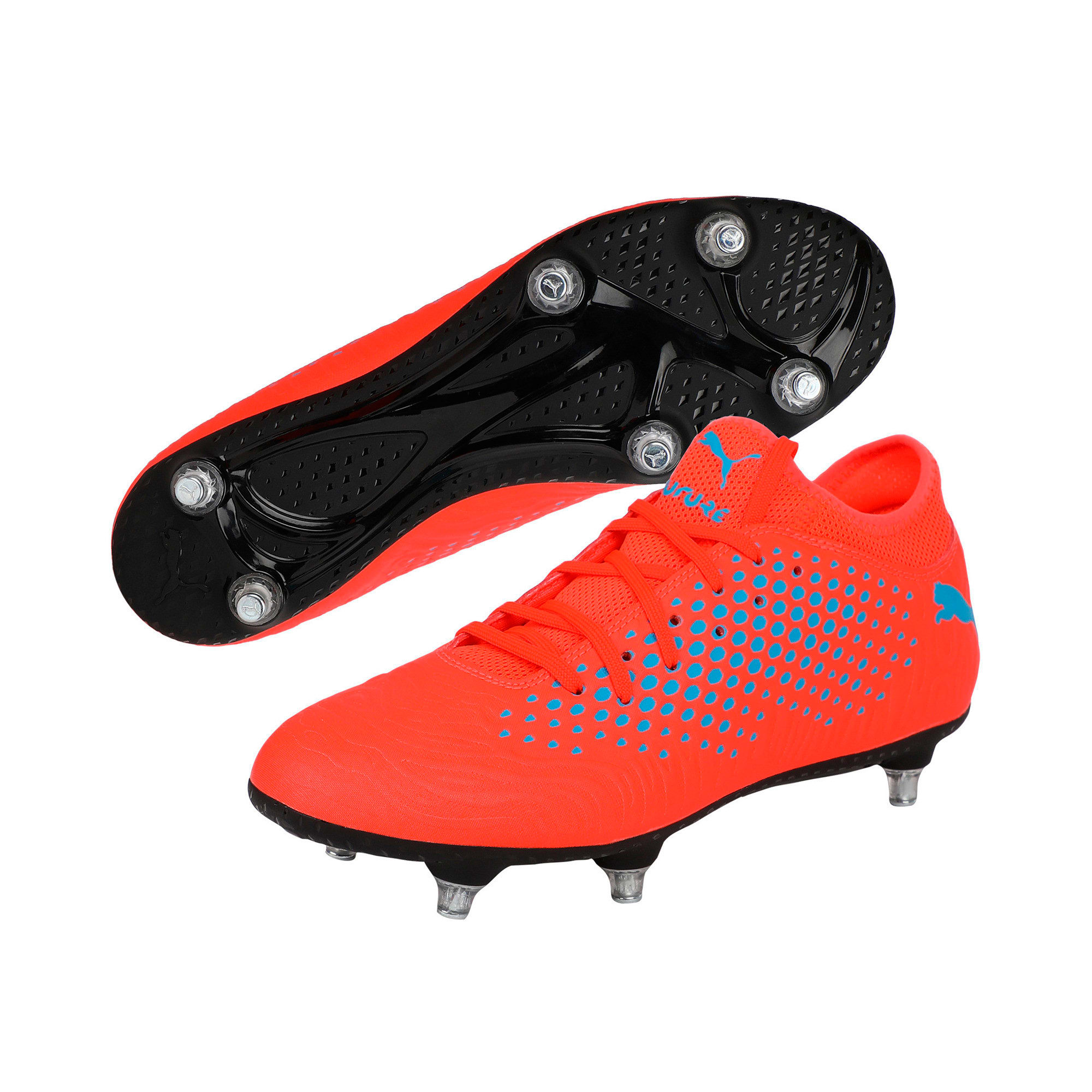 Thumbnail 2 of FUTURE 19.4 SG Men's Football Boots, Red Blast-Bleu Azur, medium-IND