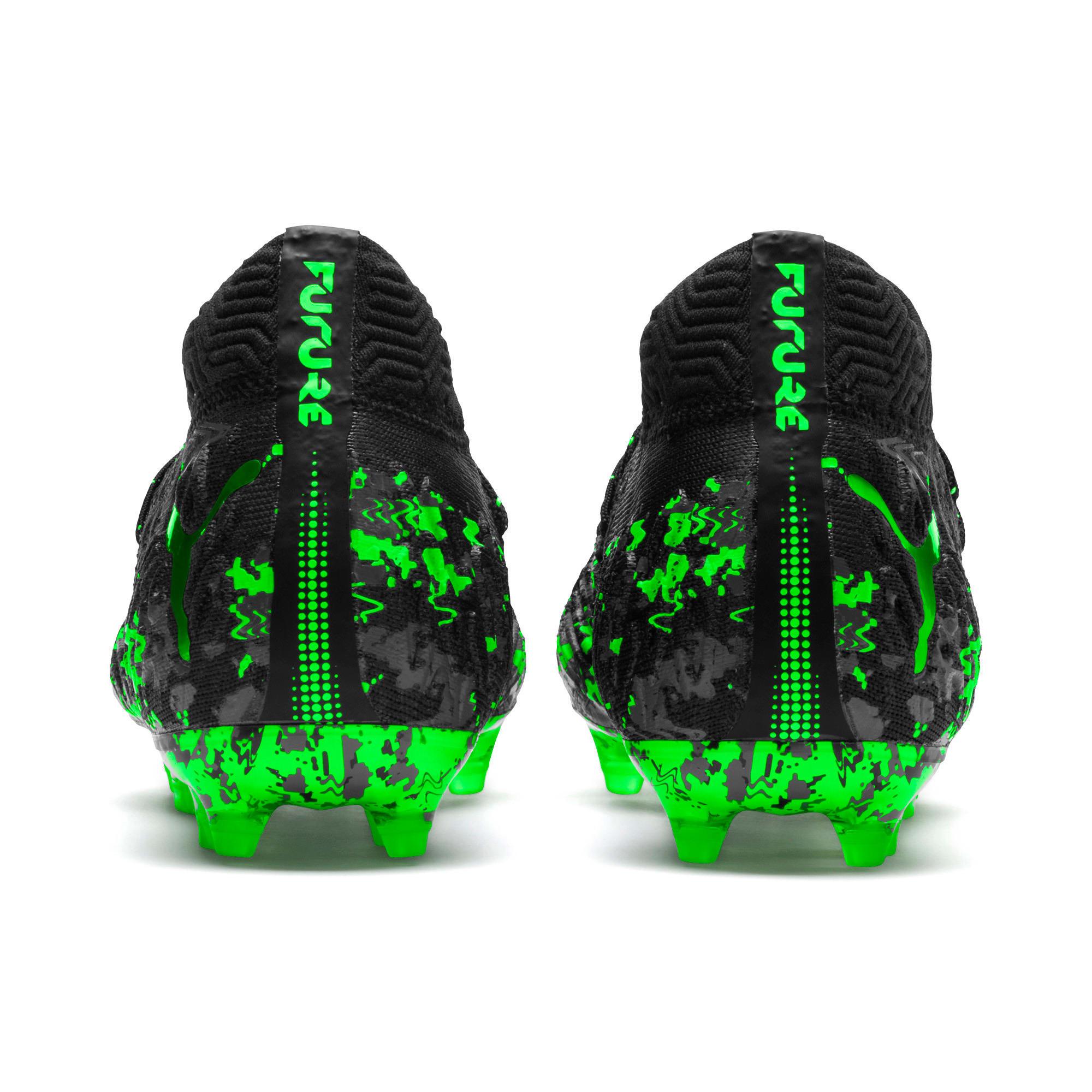 Thumbnail 3 of FUTURE 19.1 NETFIT FG/AG Kinder Fußballschuhe, Black-Gray-Green Gecko, medium