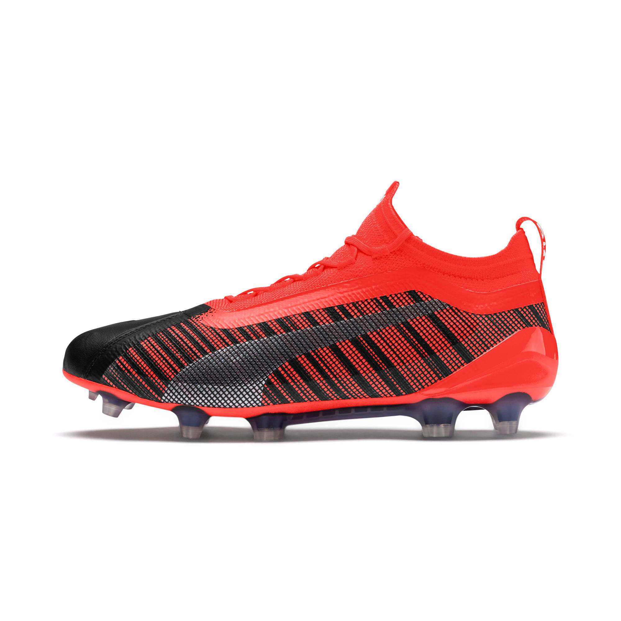 Thumbnail 1 of PUMA ONE 5.1 FG/AG Men's Soccer Cleats, Black-Nrgy Red-Aged Silver, medium