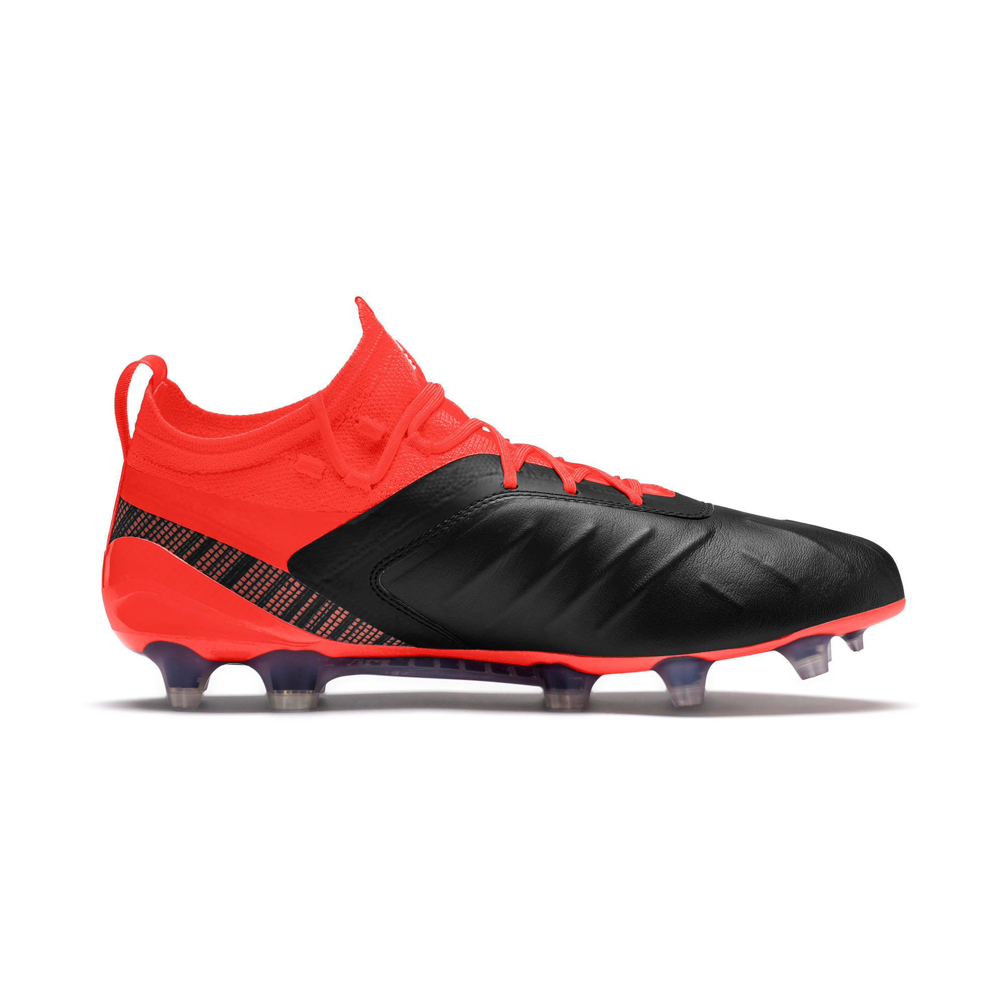 PUMA ONE 5.1 evoKNIT FG/AG voetbalschoenen voor mannen, Black-Nrgy Red-Aged Silver, large
