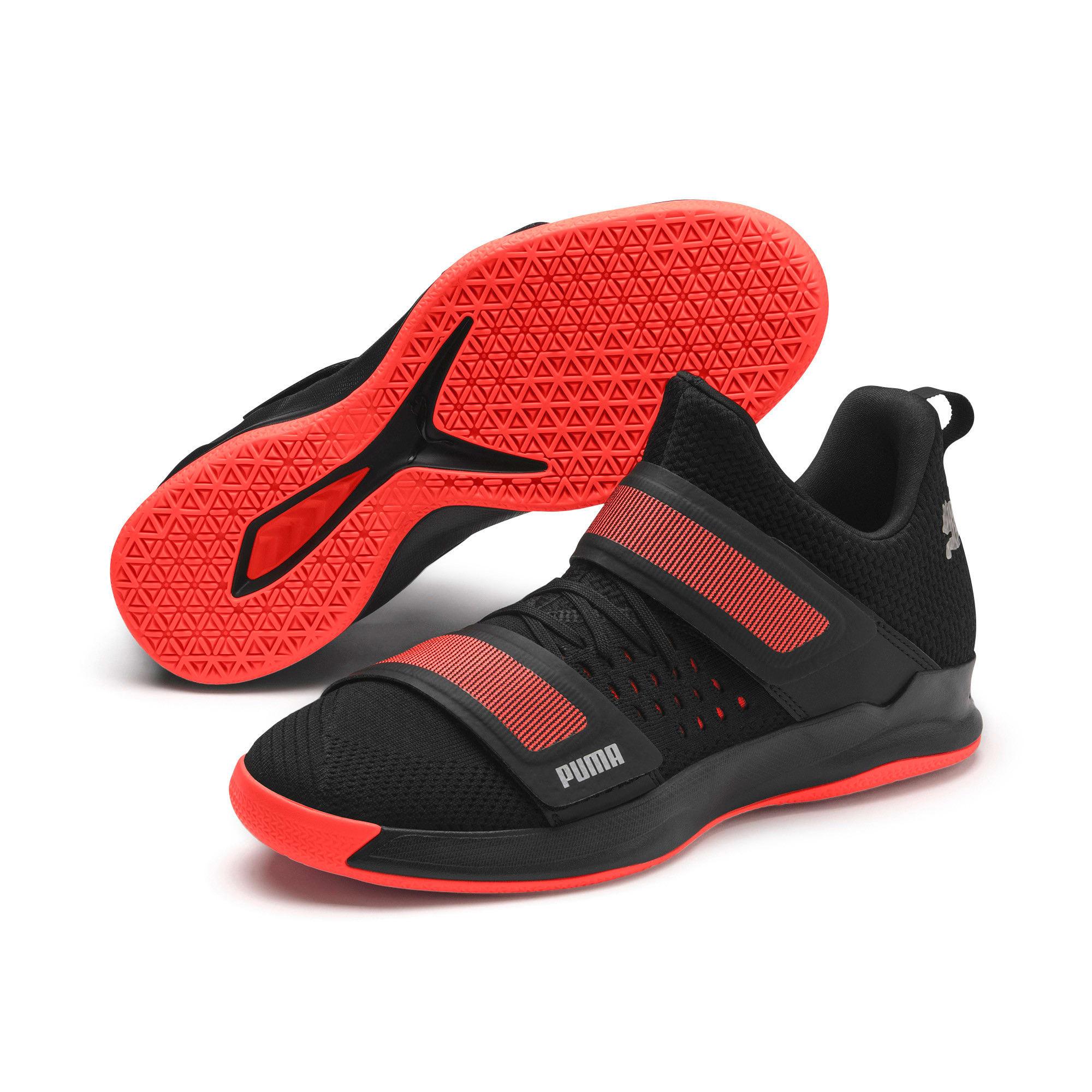 Thumbnail 3 of Rise XT3 NETFIT Handball Shoes, Puma Black-Silver-Nrgy Red, medium