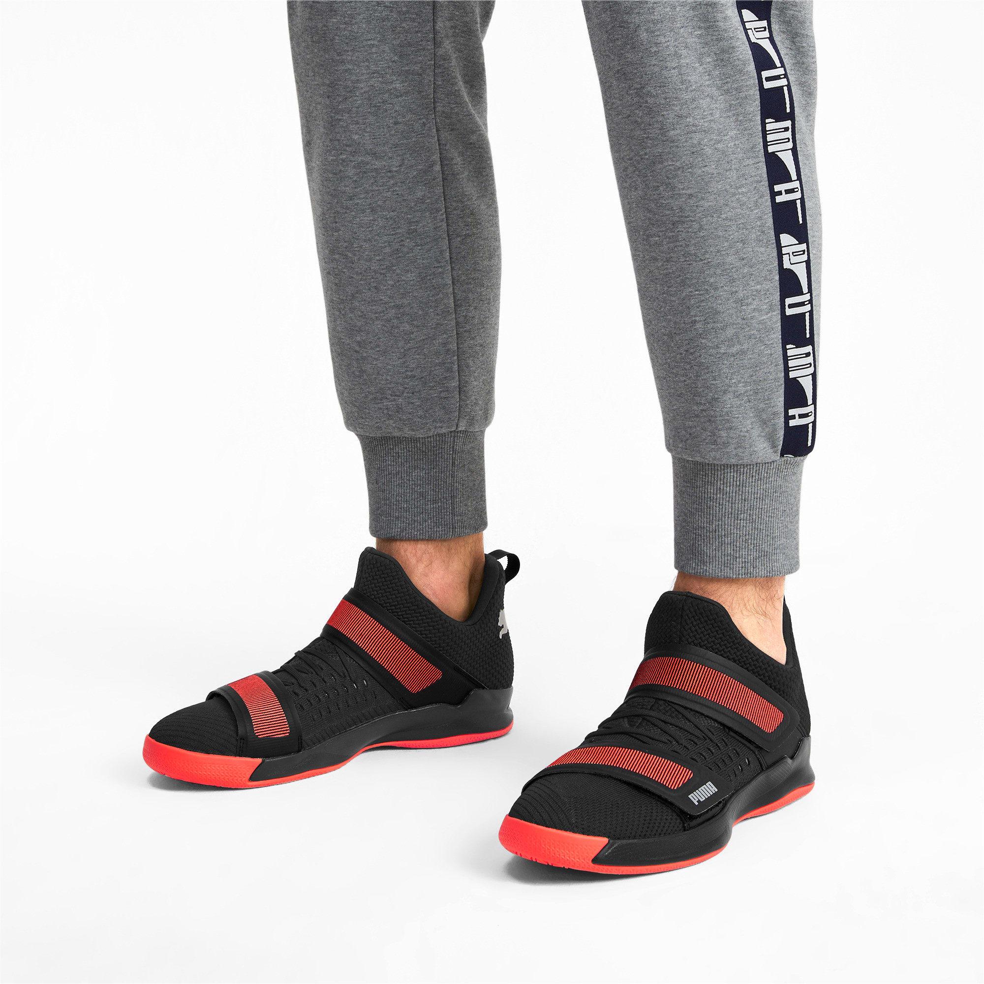 Thumbnail 2 of Rise XT3 NETFIT Handball Shoes, Puma Black-Silver-Nrgy Red, medium