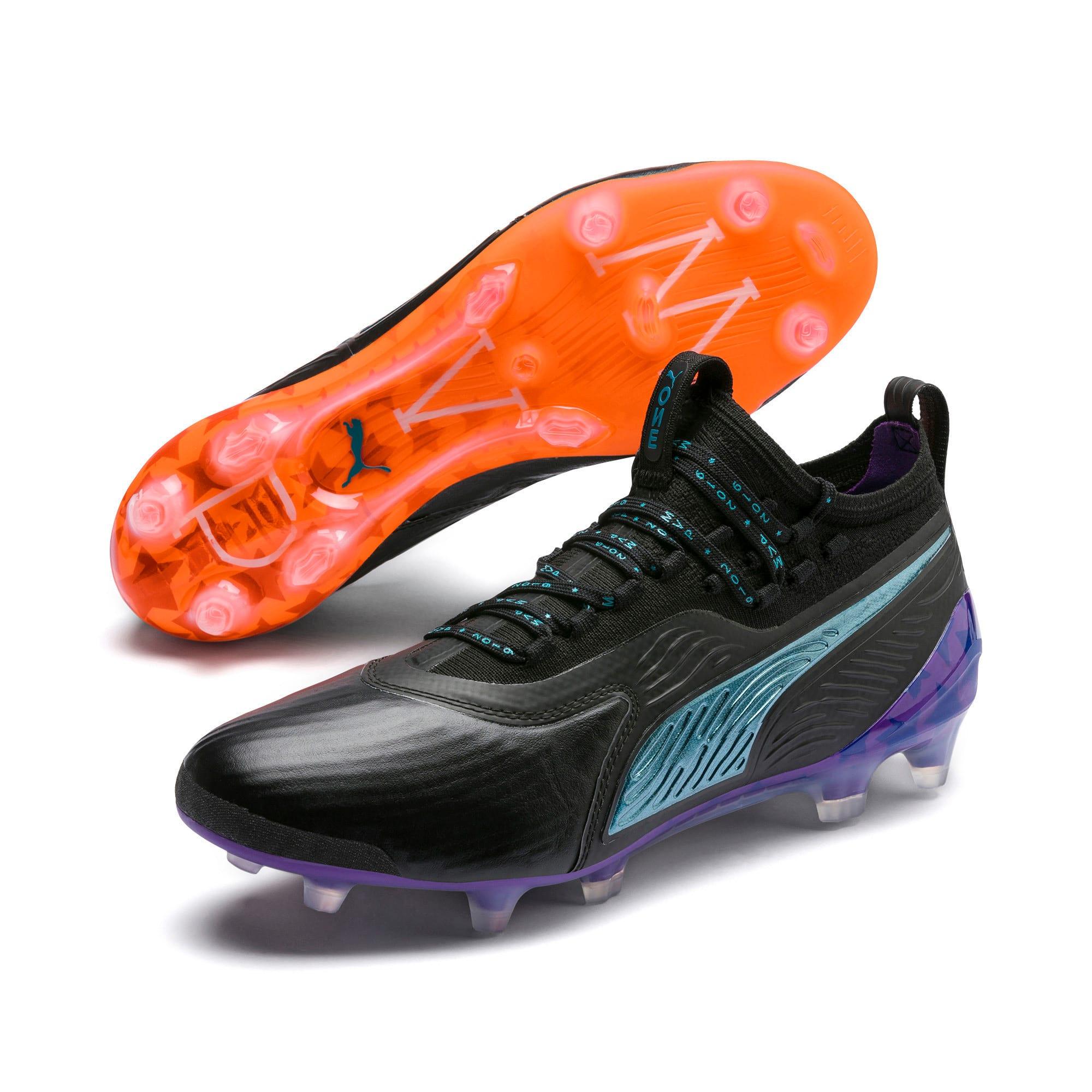 Thumbnail 2 of PUMA ONE 19.1 MVP FG/AG Men's Soccer Cleats, Black-cari sea-purple-orange, medium