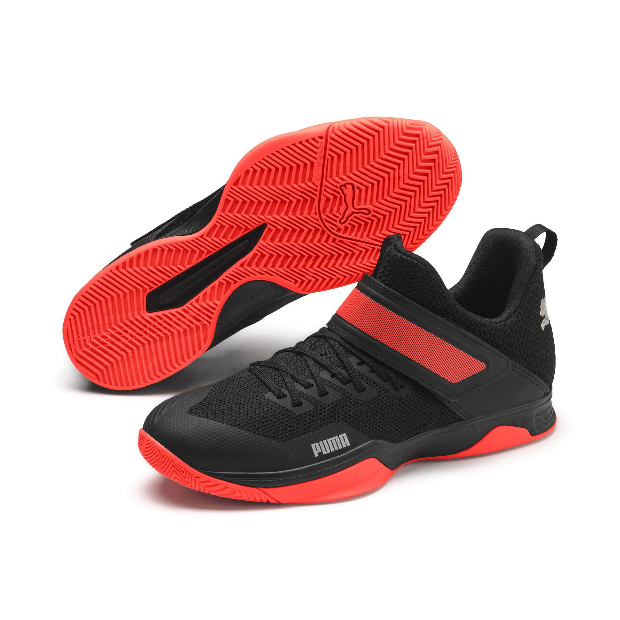 Thumbnail 3 of Rise XT3 Handball Shoes, Puma Black-Silver-Nrgy Red, medium
