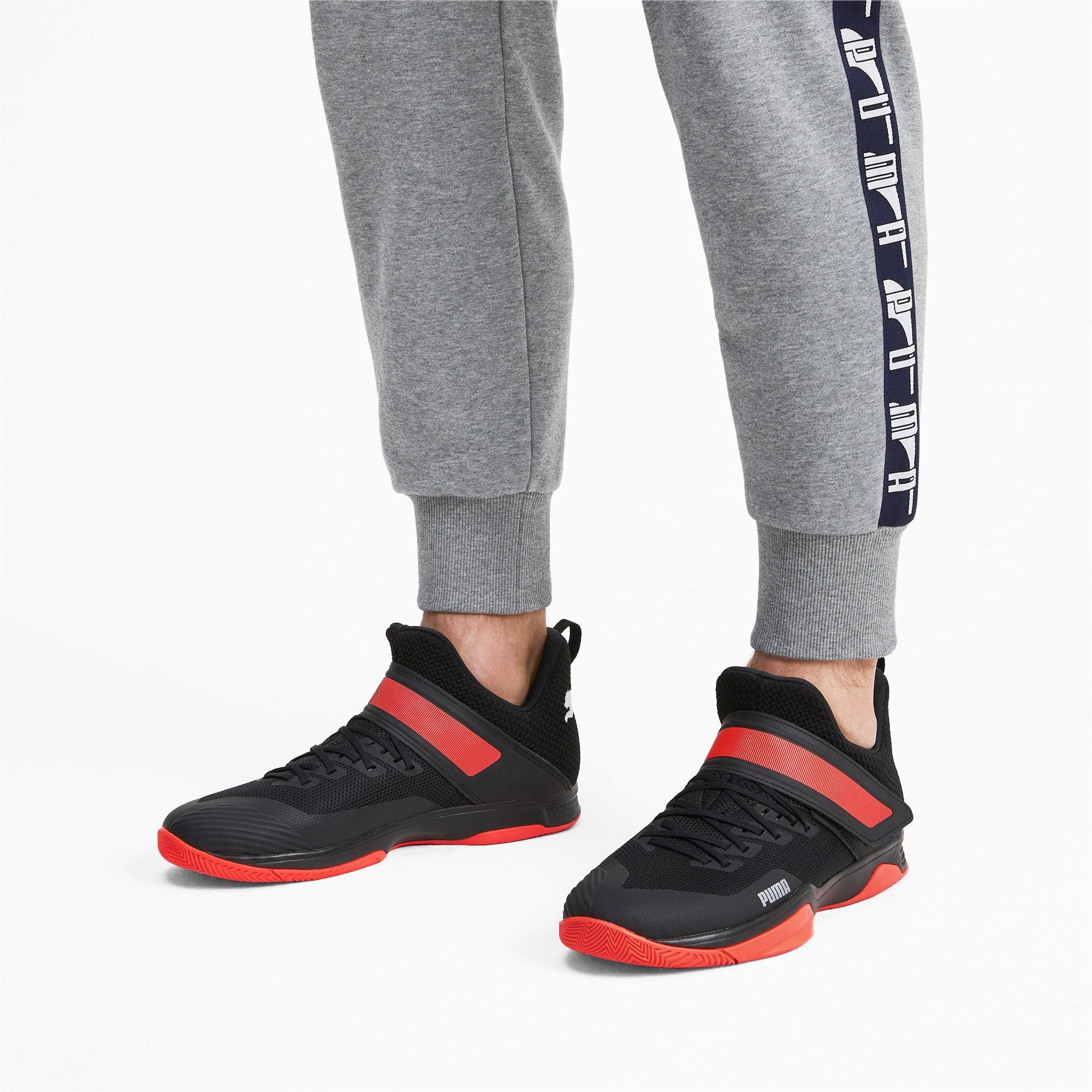 Thumbnail 2 of Rise XT3 Handball Shoes, Puma Black-Silver-Nrgy Red, medium