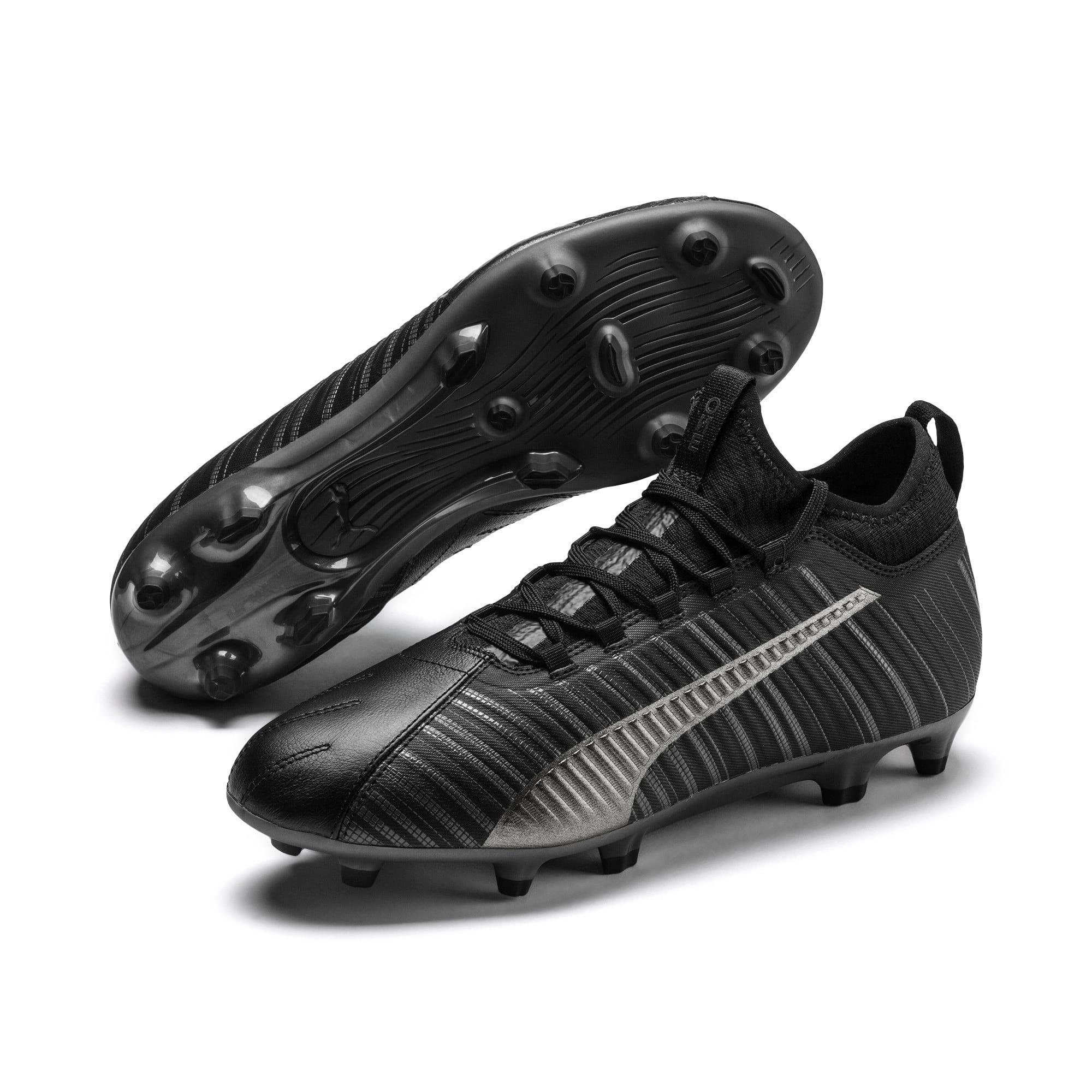 Thumbnail 3 of PUMA ONE 5.3 FG/AG Men's Soccer Cleats, Black-Black-Puma Aged Silver, medium