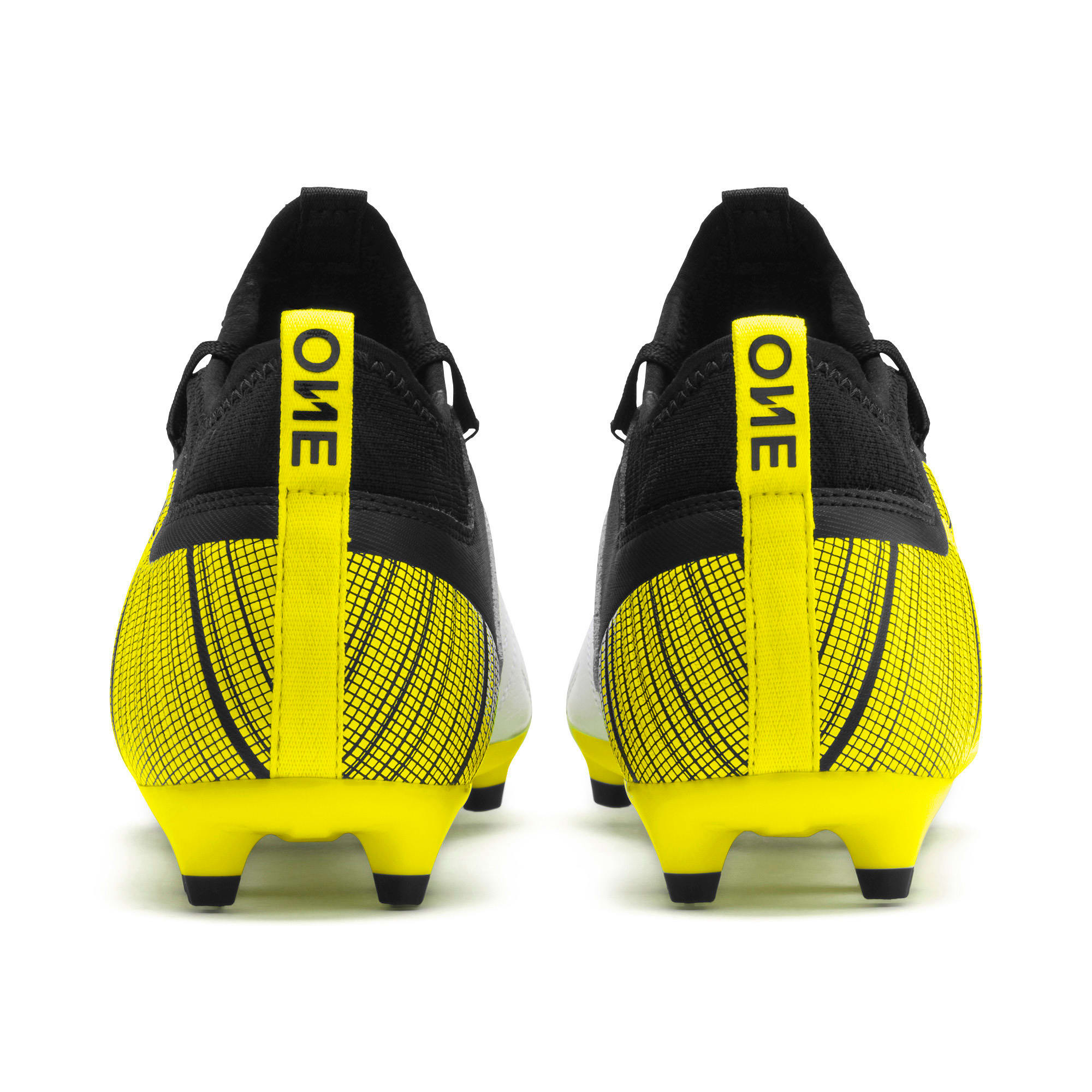 Thumbnail 4 of PUMA ONE 5.3 FG/AG Men's Football Boots, White-Black-Yellow Alert, medium