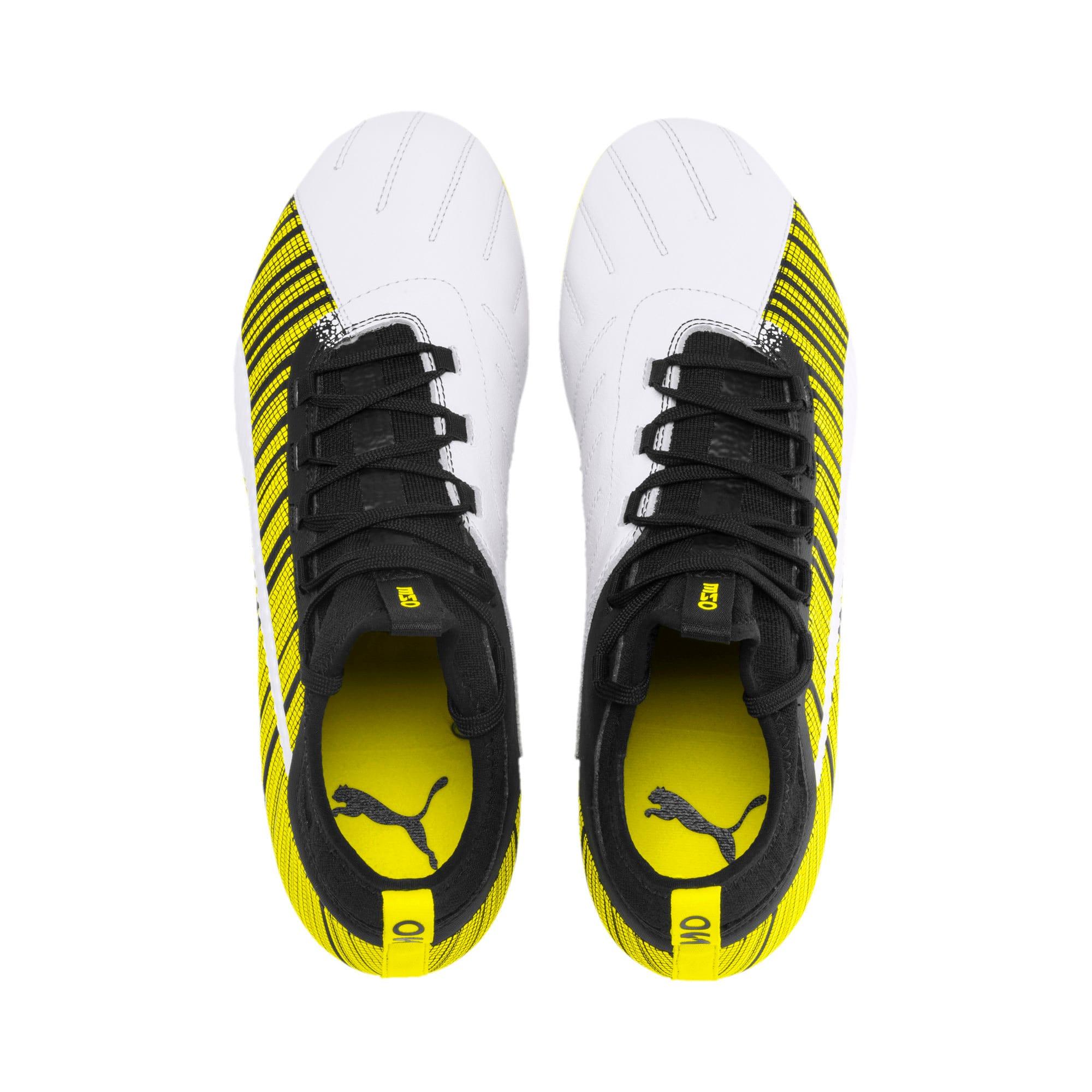 Thumbnail 7 of PUMA ONE 5.3 FG/AG Men's Football Boots, White-Black-Yellow Alert, medium
