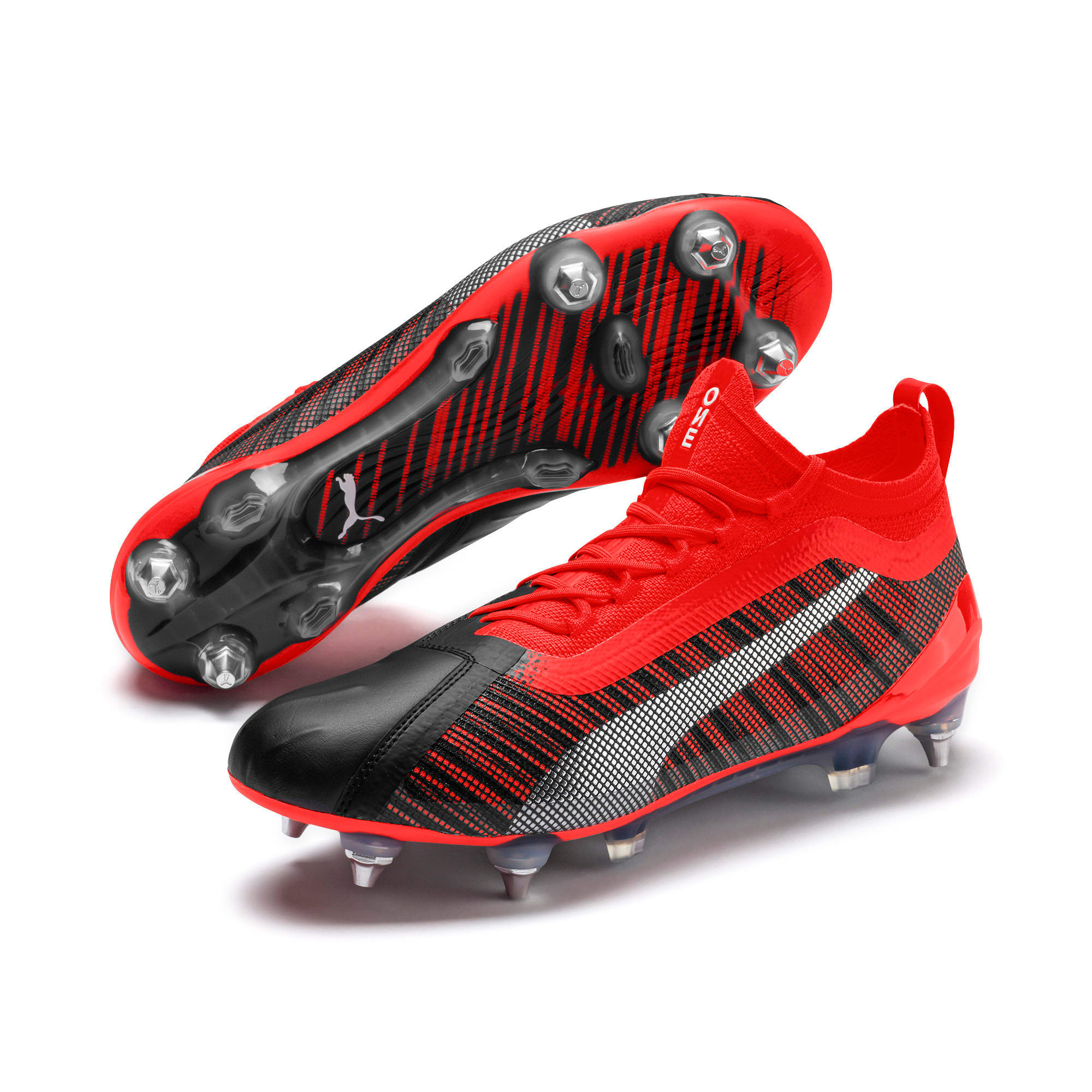 Thumbnail 3 of PUMA ONE 5.1 MxSG Football Boots, Black-Nrgy Red-Aged Silver, medium