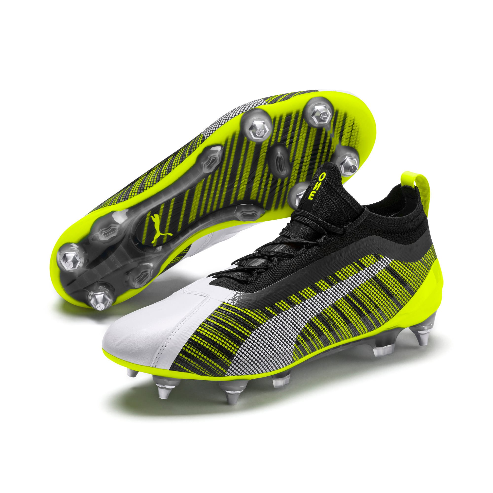 Thumbnail 3 of PUMA ONE 5.1 MxSG Football Boots, White-Black-Yellow Alert, medium