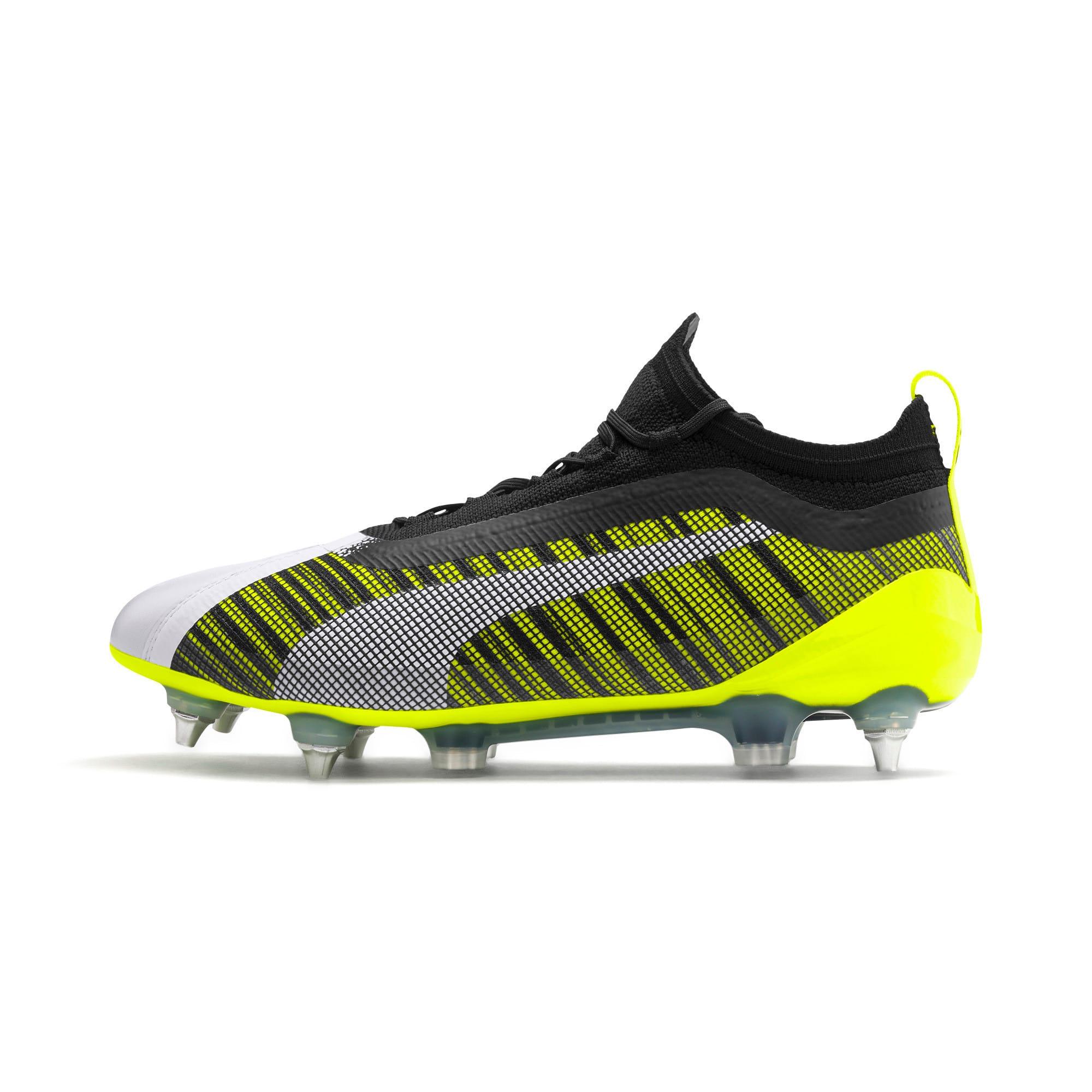 Thumbnail 1 of PUMA ONE 5.1 MxSG Football Boots, White-Black-Yellow Alert, medium