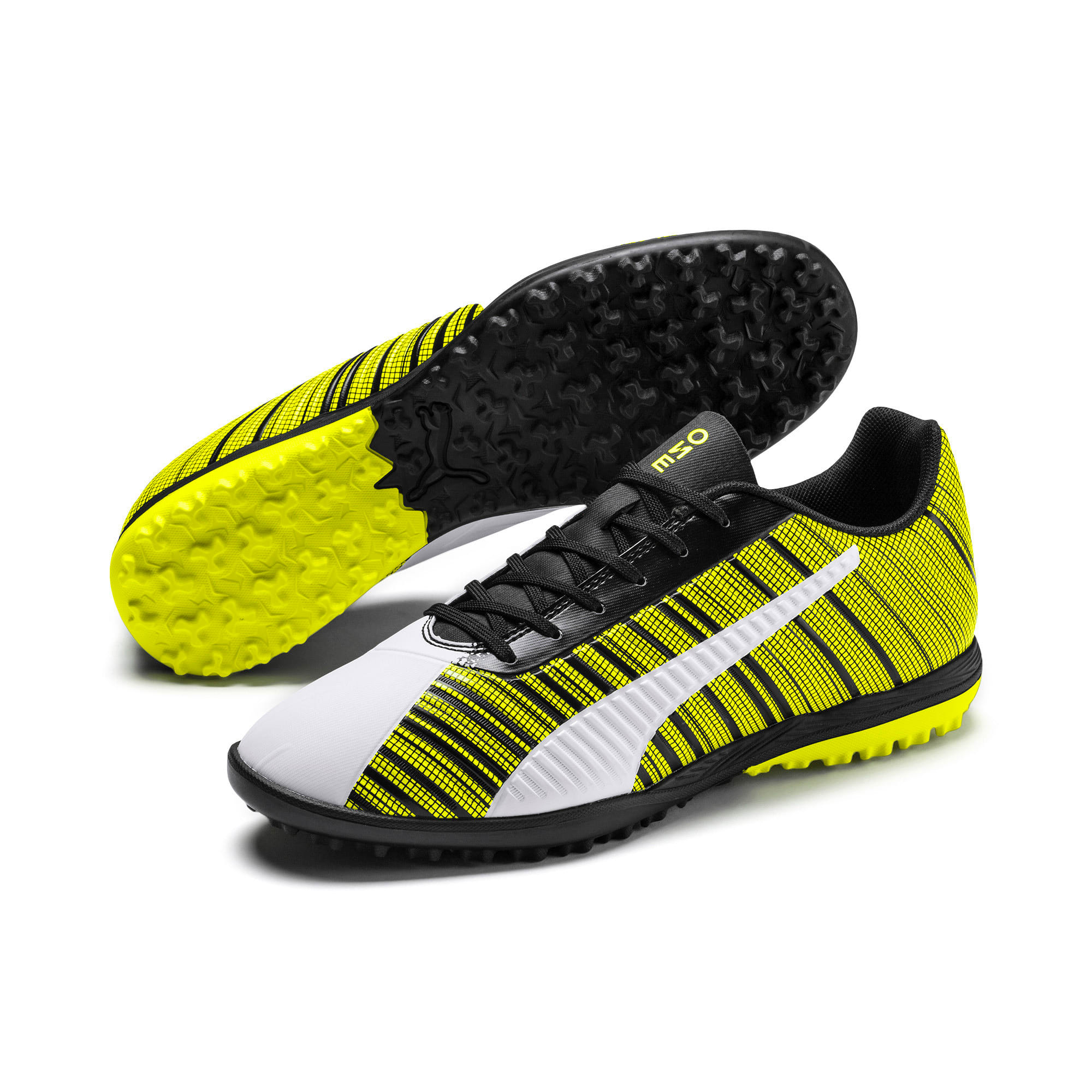 Thumbnail 3 of PUMA ONE 5.4 TT Men's Football Boots, White- Black-Yellow Alert, medium
