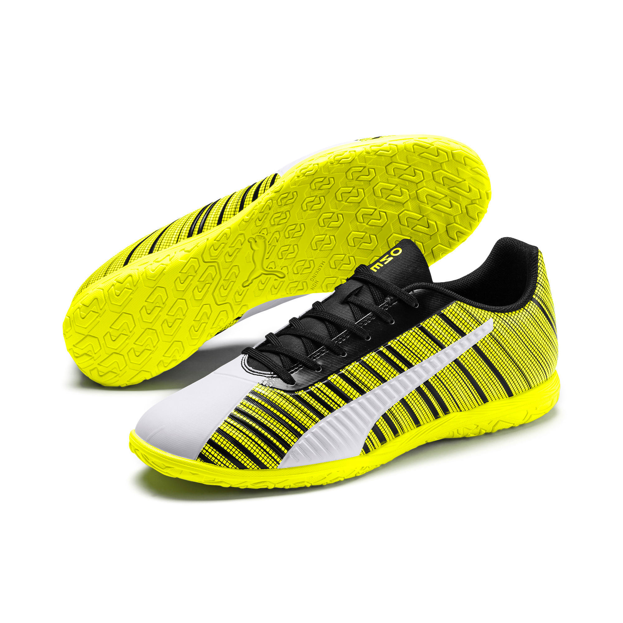 PUMA ONE 5.4 IT Men's Football Boots, White-Black-Yellow Alert, large