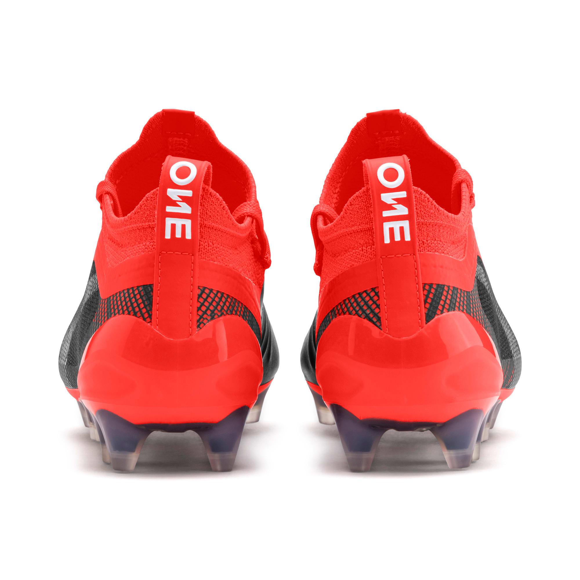 Thumbnail 3 of PUMA ONE 5.1 FG/AG Soccer Cleats JR, Black-Nrgy Red-Aged Silver, medium