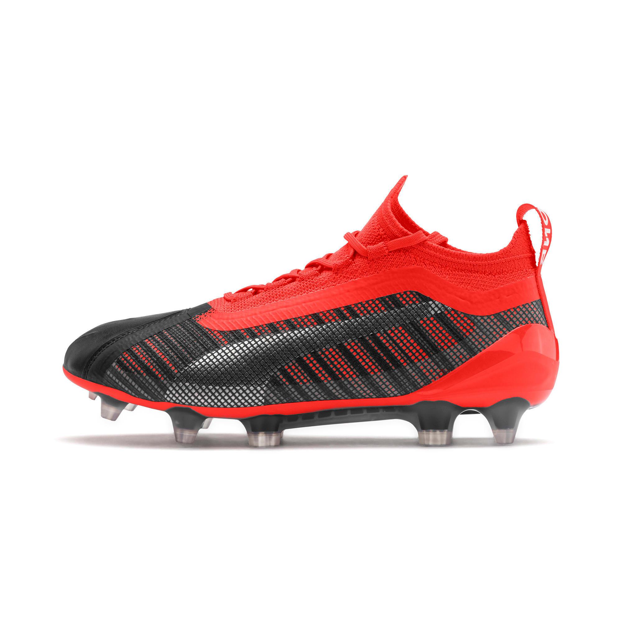 Thumbnail 1 of PUMA ONE 5.1 FG/AG Soccer Cleats JR, Black-Nrgy Red-Aged Silver, medium