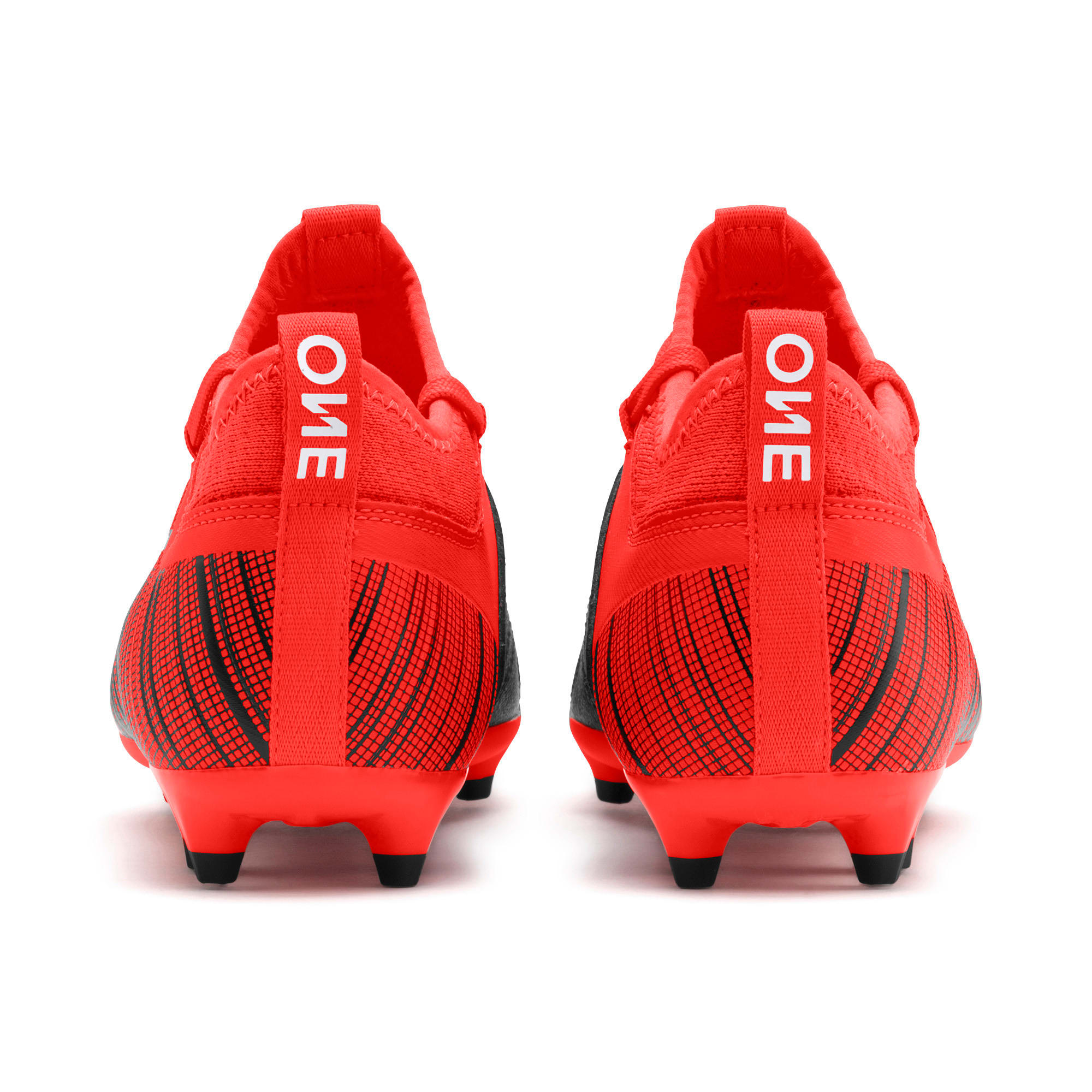 Thumbnail 3 of PUMA ONE 5.3 FG/AG Soccer Cleats JR, Black-Nrgy Red-Aged Silver, medium