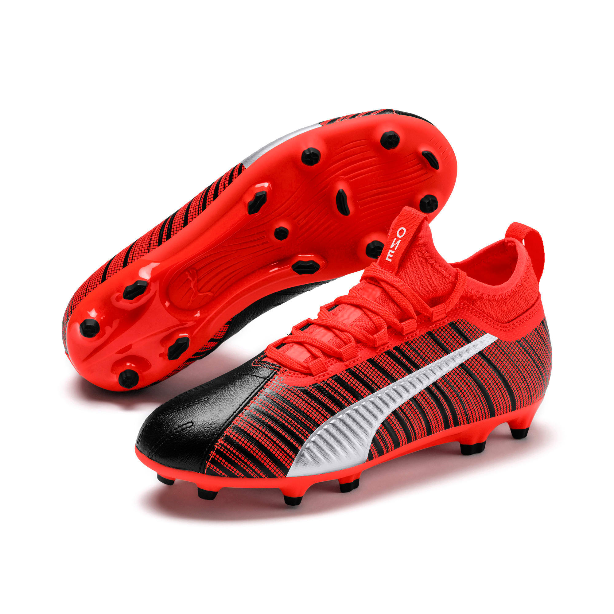 Thumbnail 2 of PUMA ONE 5.3 FG/AG Soccer Cleats JR, Black-Nrgy Red-Aged Silver, medium