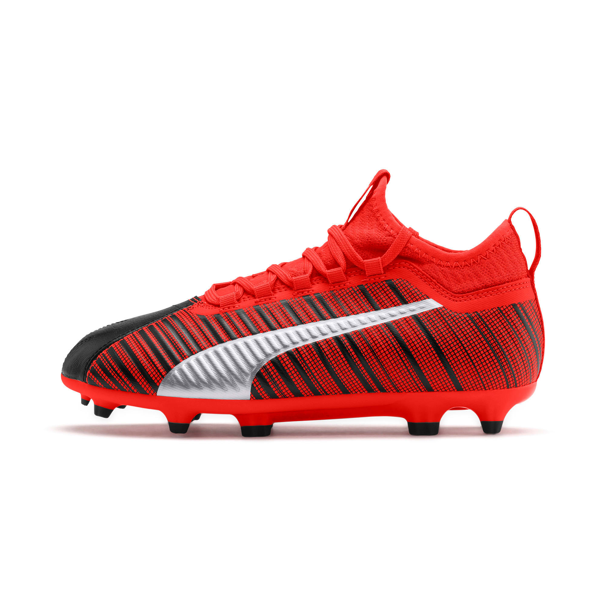 Thumbnail 1 of PUMA ONE 5.3 FG/AG Soccer Cleats JR, Black-Nrgy Red-Aged Silver, medium