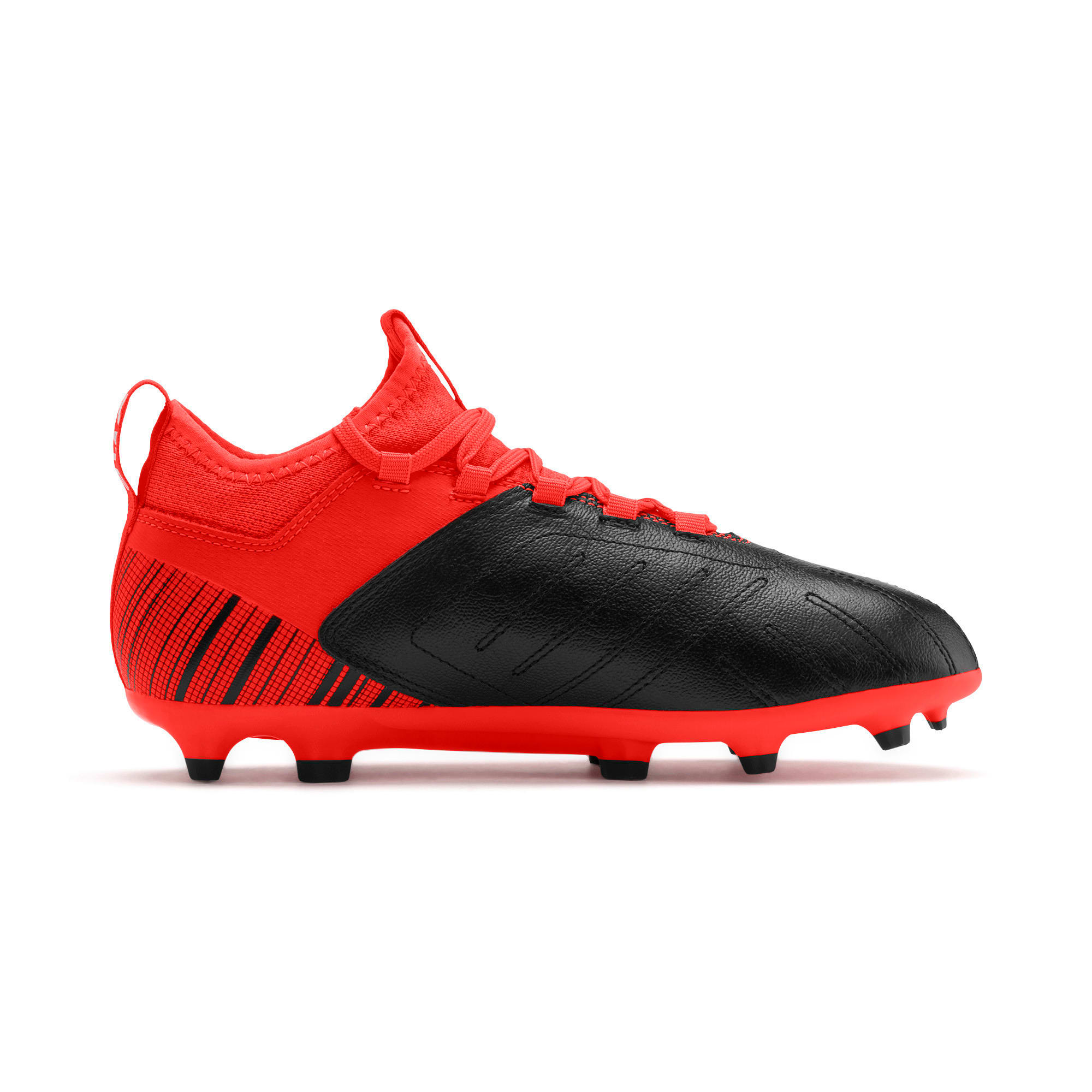 Thumbnail 5 of PUMA ONE 5.3 FG/AG Soccer Cleats JR, Black-Nrgy Red-Aged Silver, medium