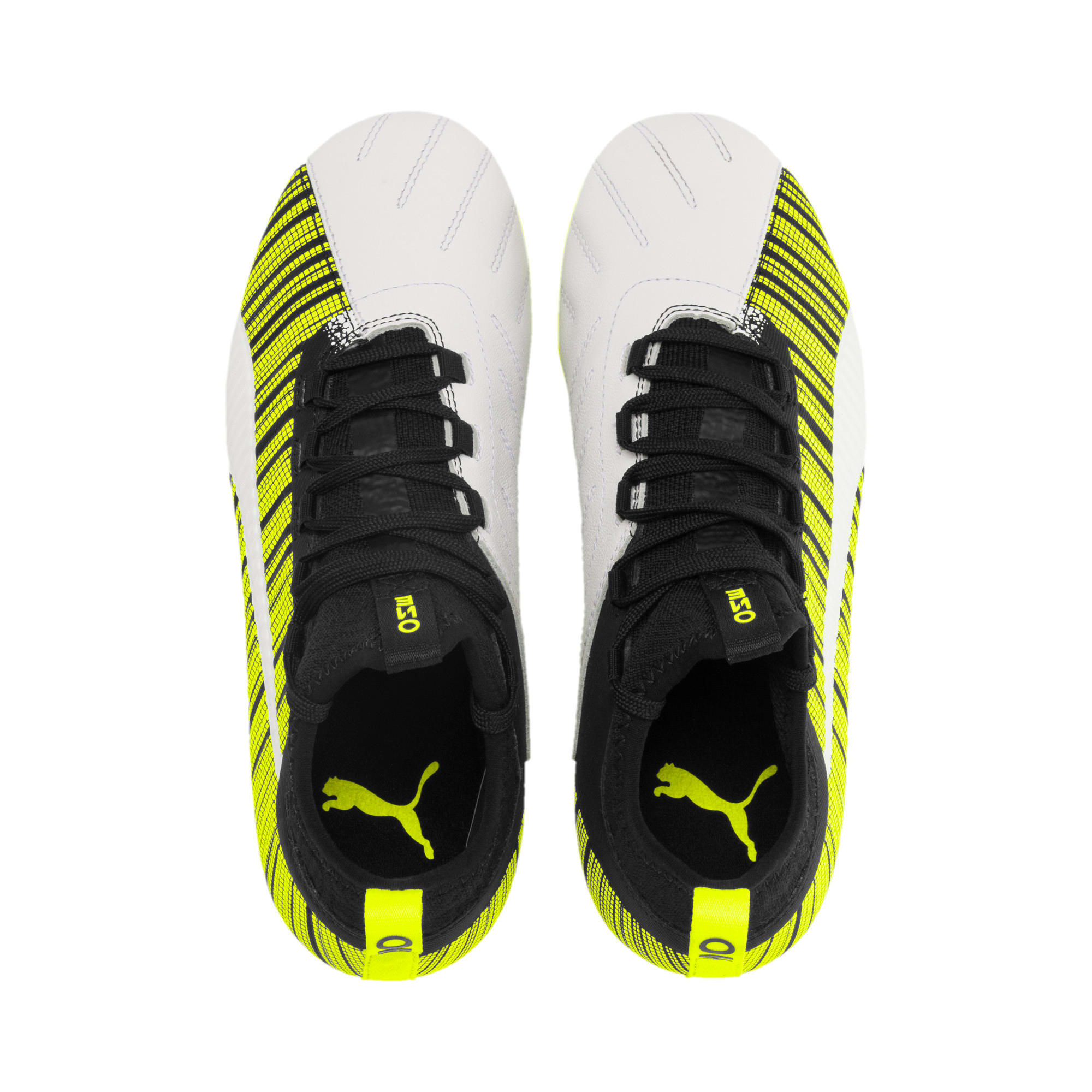 Thumbnail 6 of Chaussure de foot PUMA ONE 5.3 FG/AG Youth, White-Black-Yellow Alert, medium